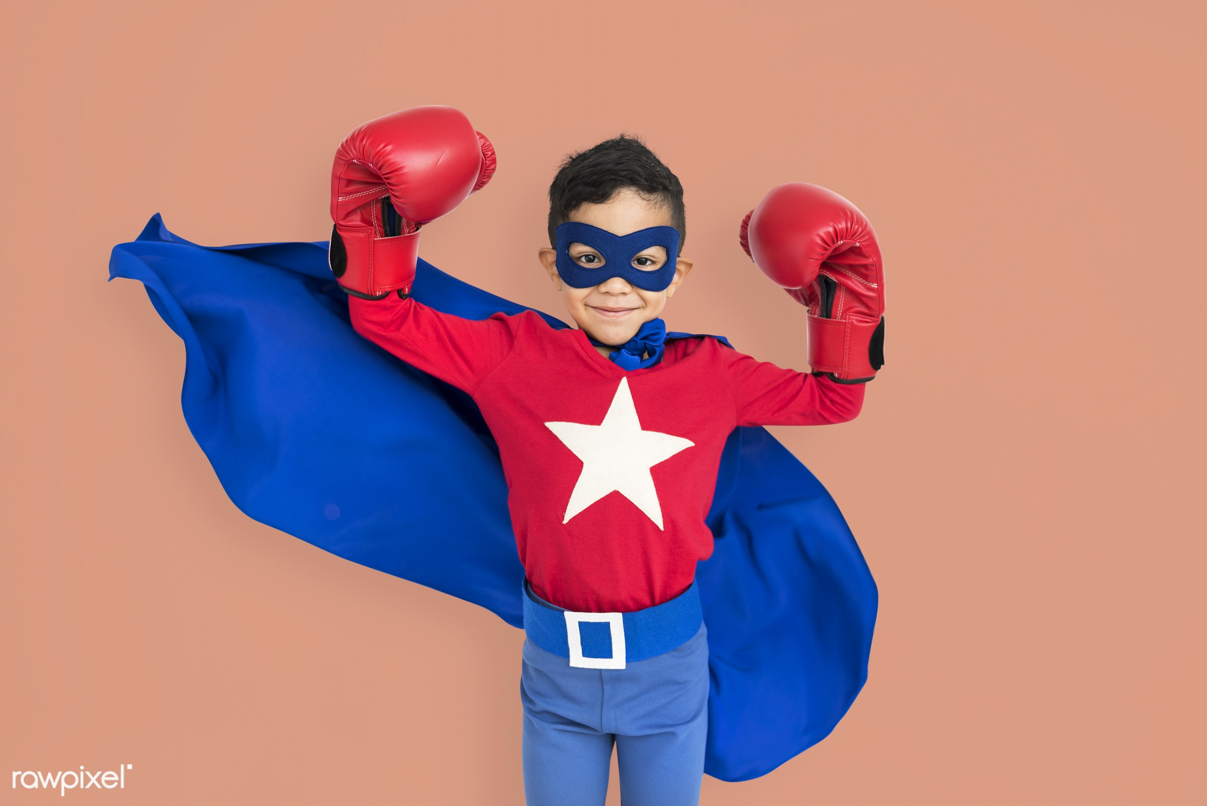 studio, expression, might, person, cape, joy, little, mask, cute, people, kid, smile, cheerful, smiling, superhero, isolated...
