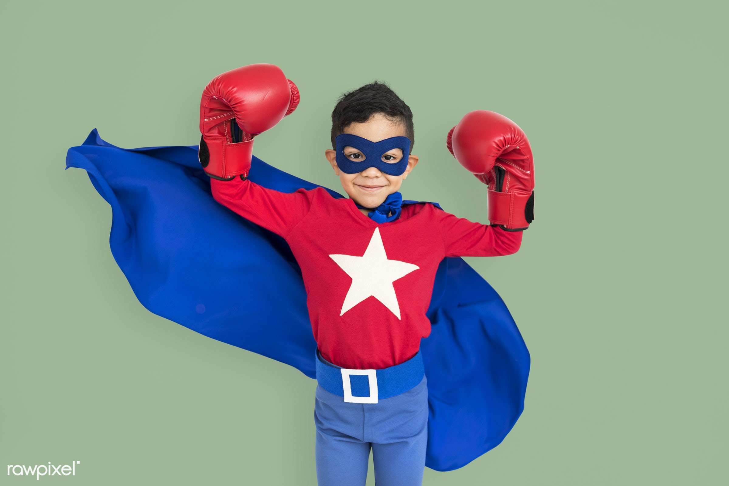 expression, studio, might, person, cape, joy, mask, little, cute, people, kid, smile, cheerful, smiling, superhero, isolated...