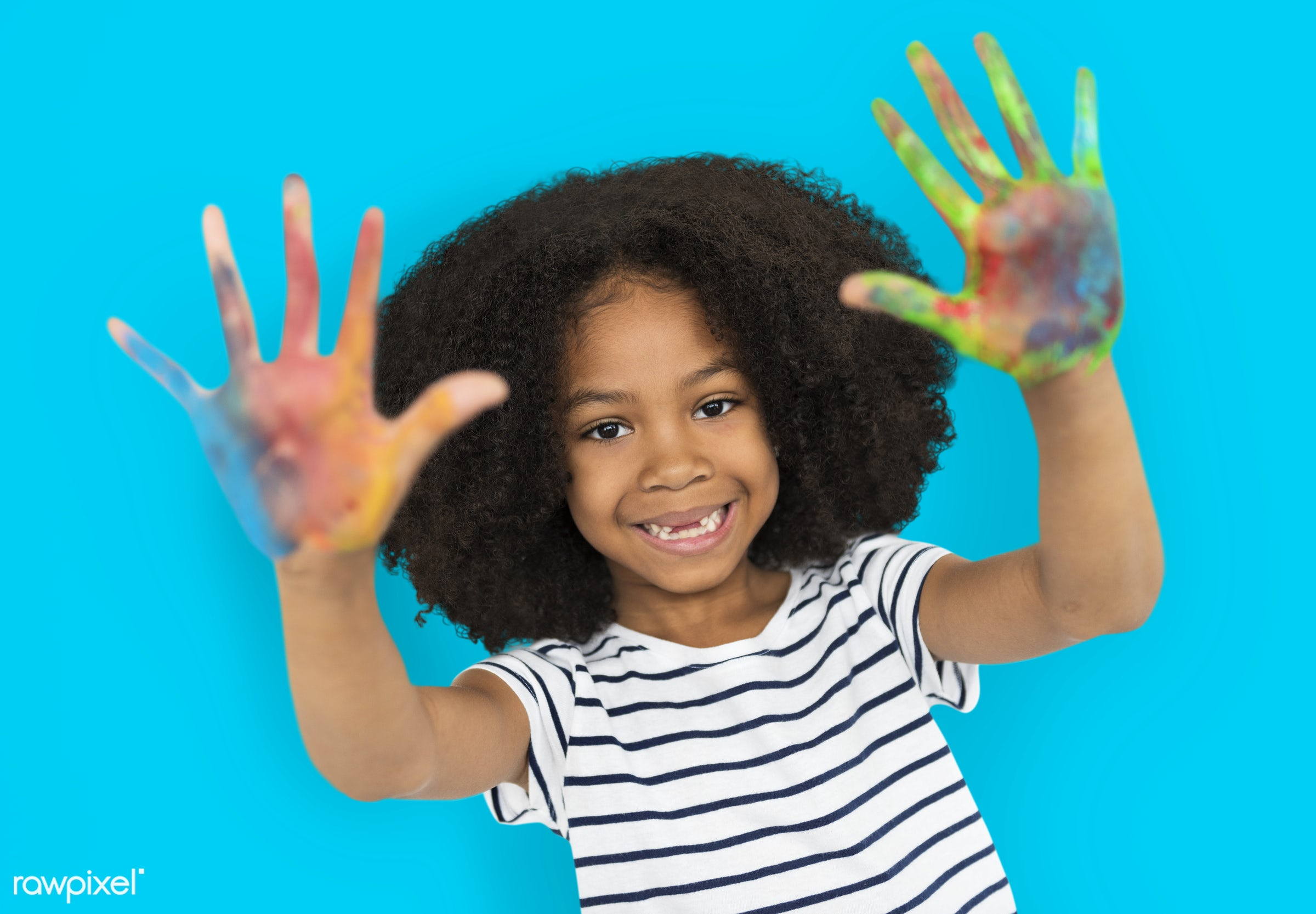 expression, studio, person, little, cute, painted hands, people, drawing, draw, child, girl, happy, casual, smile, cheerful...