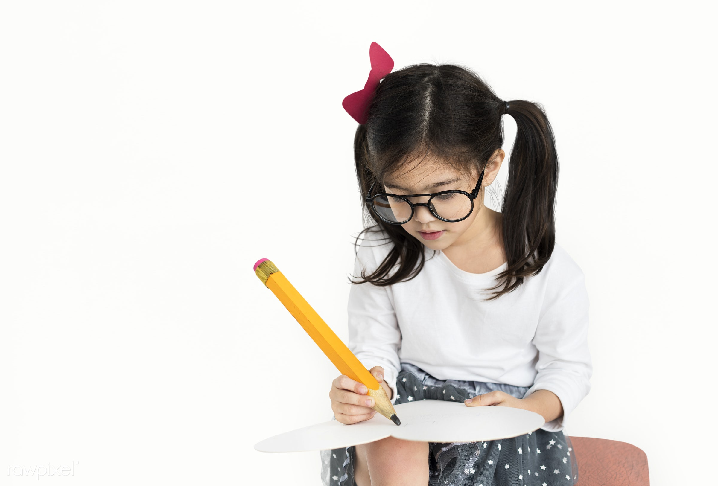 studio, expression, person, isolated on white, little, big pencil, cute, people, drawing, caucasian, draw, child, girl,...