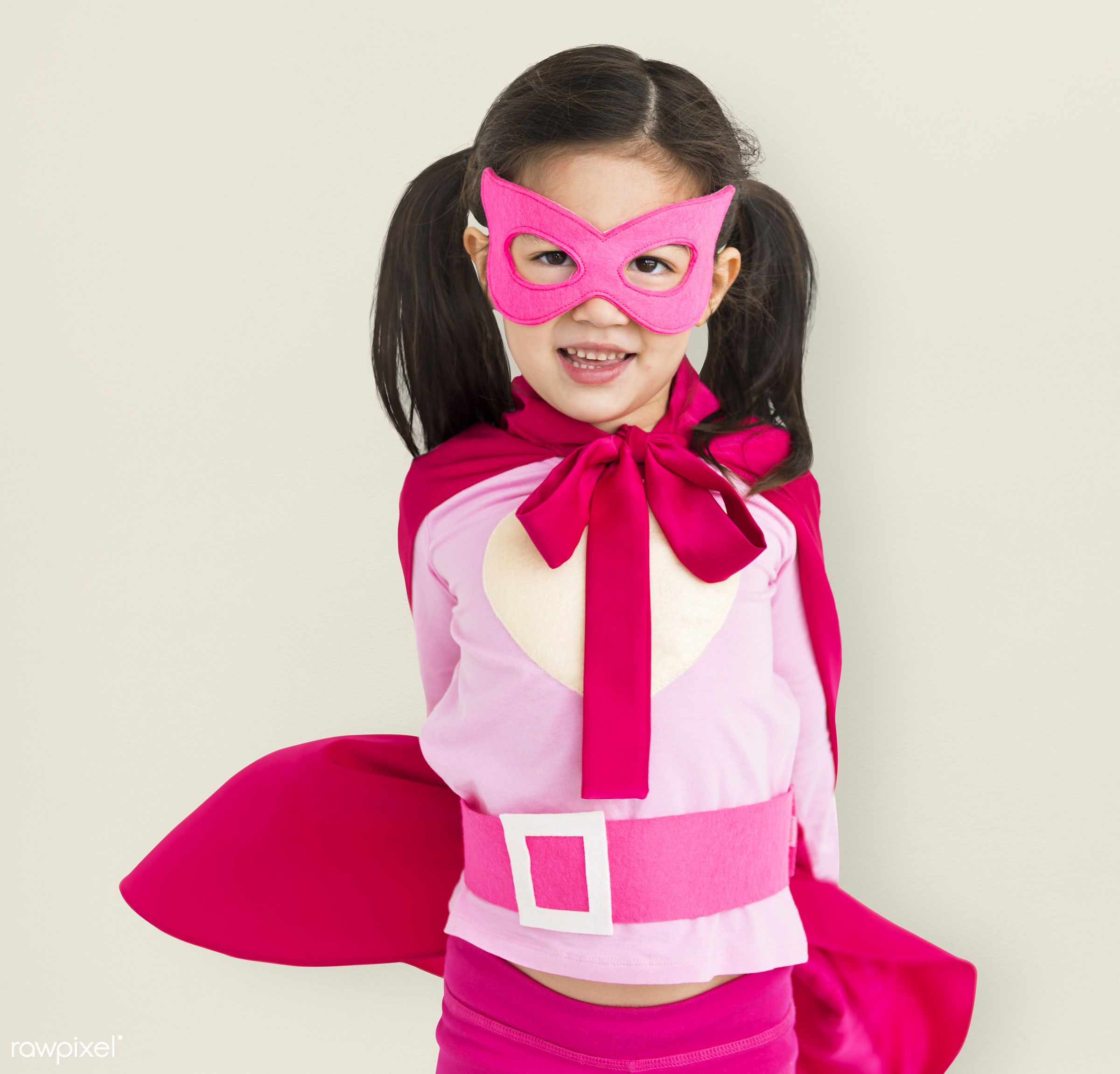 alone, asian, cheerful, child, costume, isolated, kid, mask, one, playful, smiling, superhero, young, youth, girl
