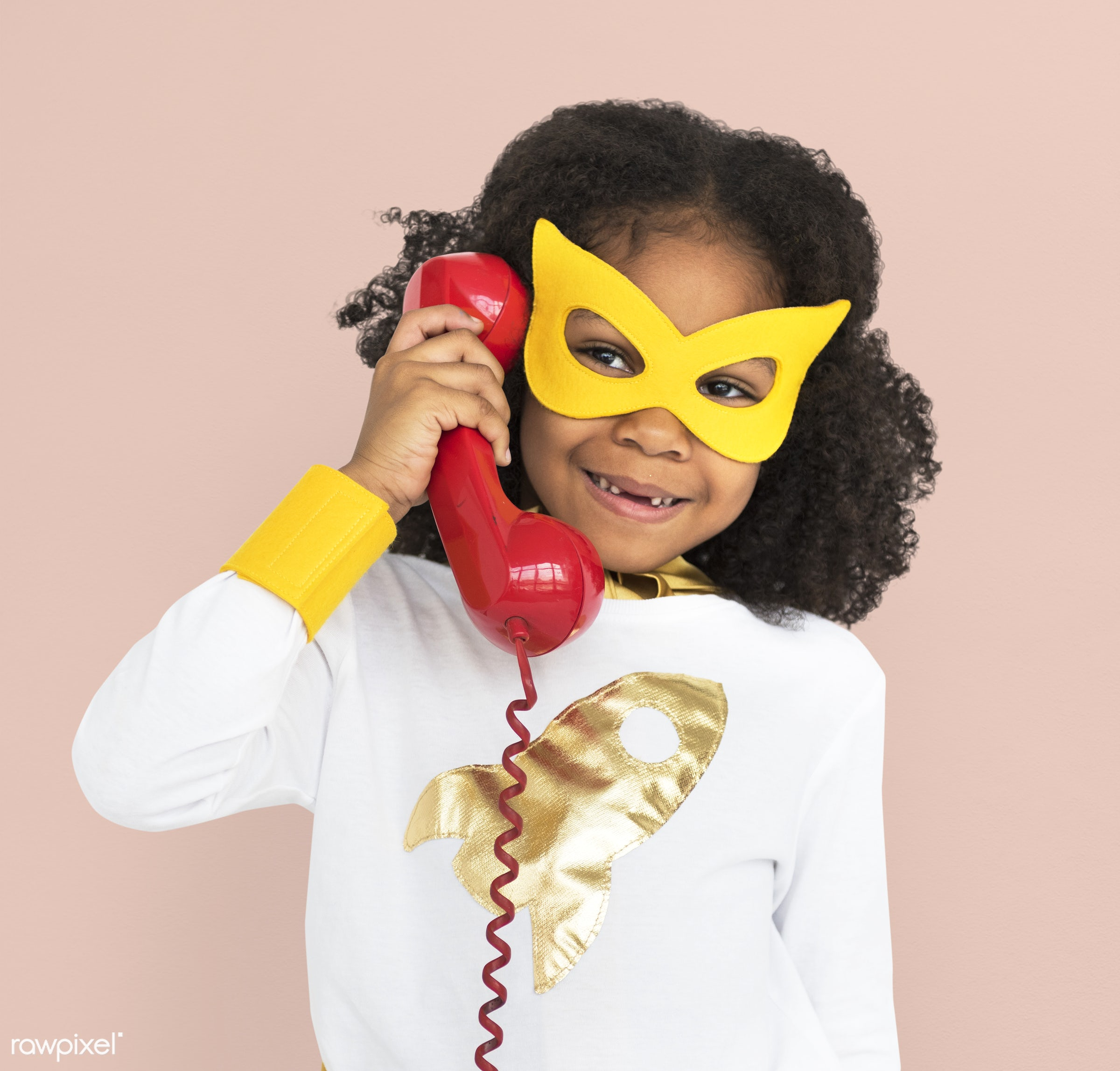 cheerful, african descent, alone, black, child, costume, girl, isolated, kid, mask, one, playful, smiling, superhero, young...