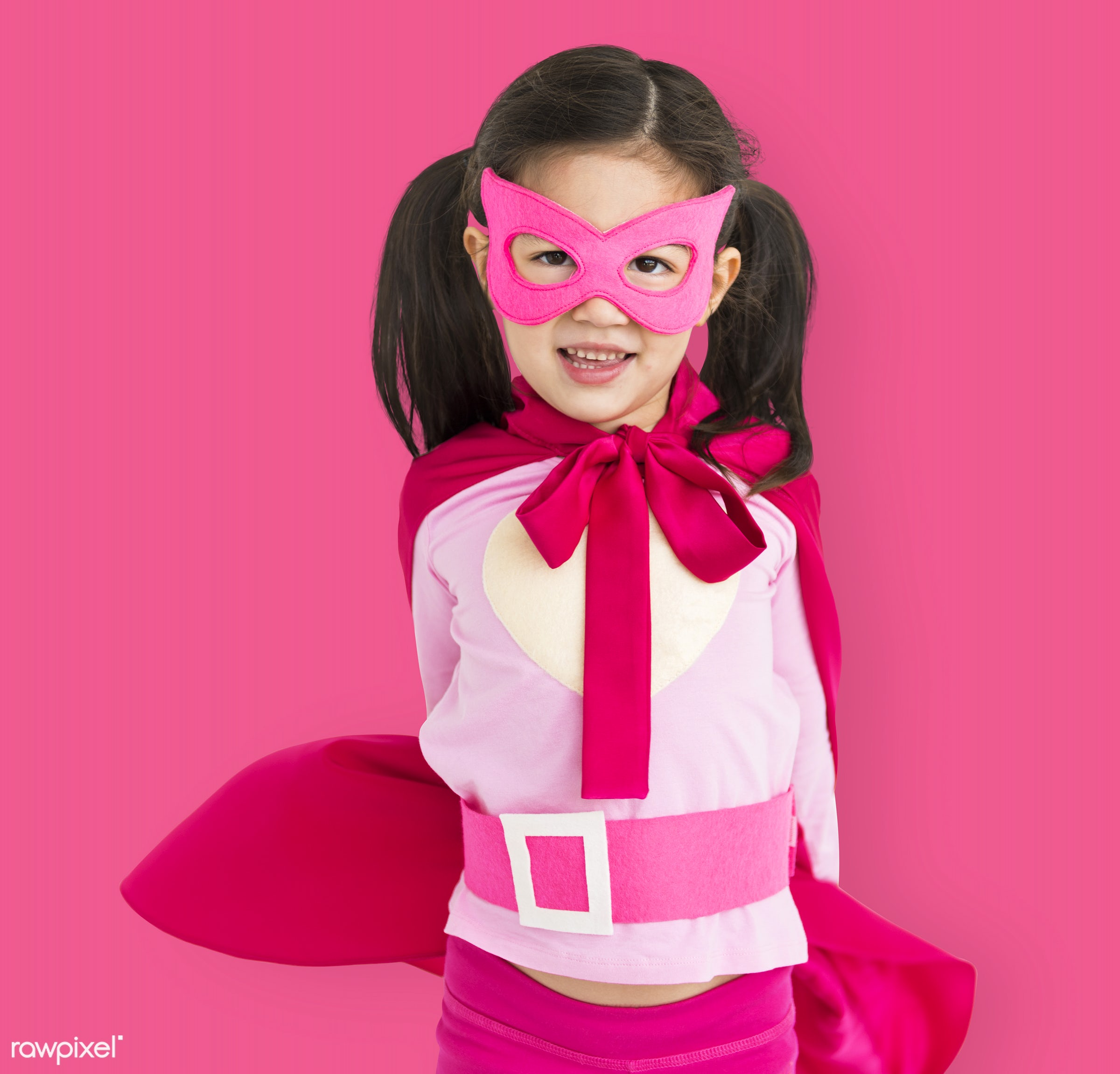 alone, asian, cheerful, child, costume, isolated, kid, mask, one, playful, smiling, superhero, young, youth