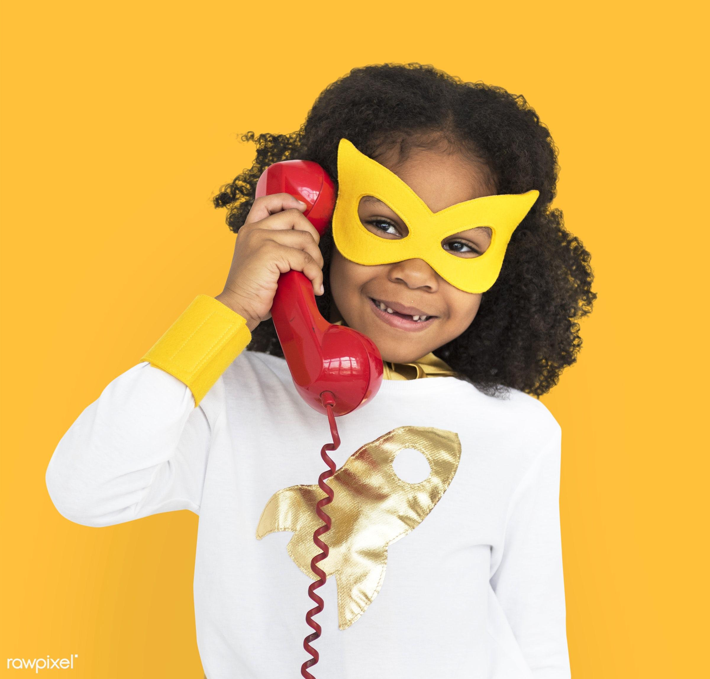 cheerful, superhero, african descent, alone, black, calling, child, costume, isolated, kid, landline, mask, one, telephone,...