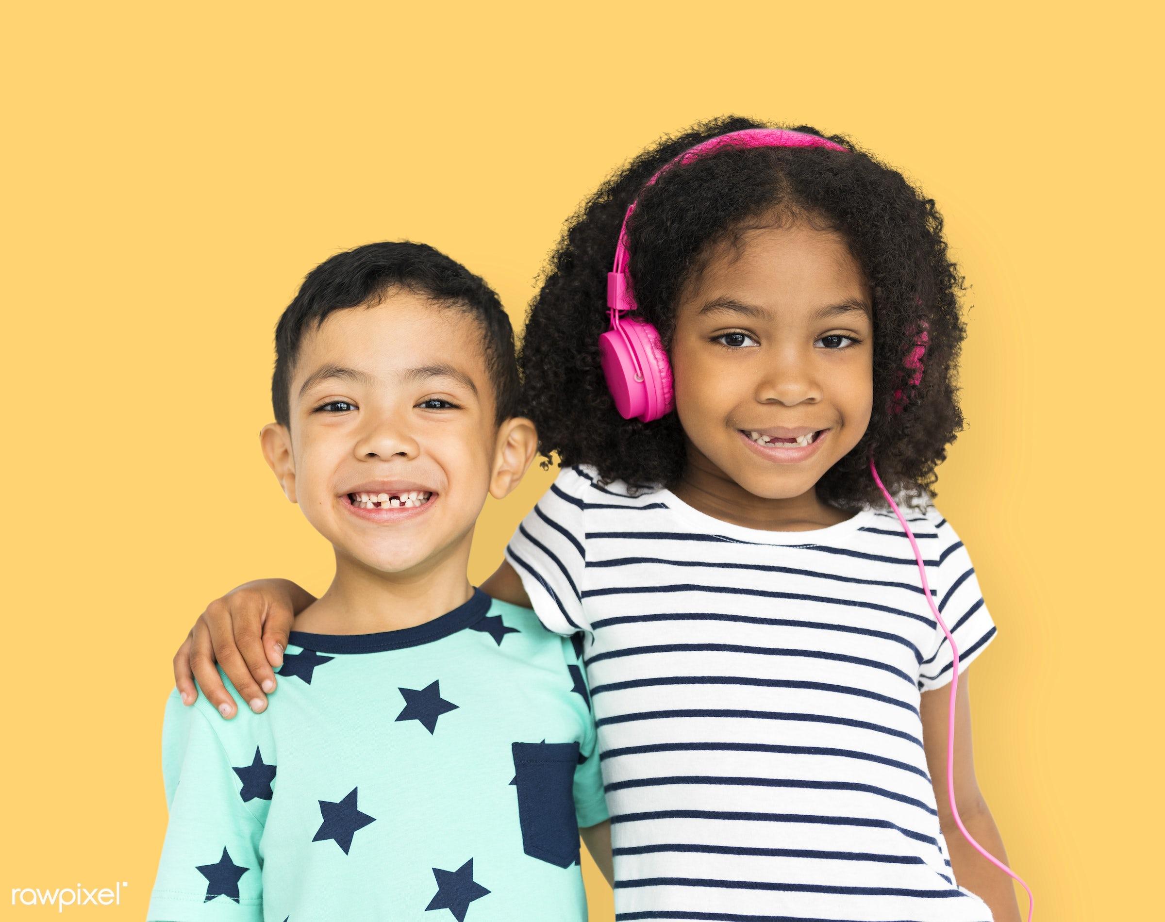 expression, studio, model, person, technology, children, little, cute, people, headphone, kid, sister, friends, friendship,...