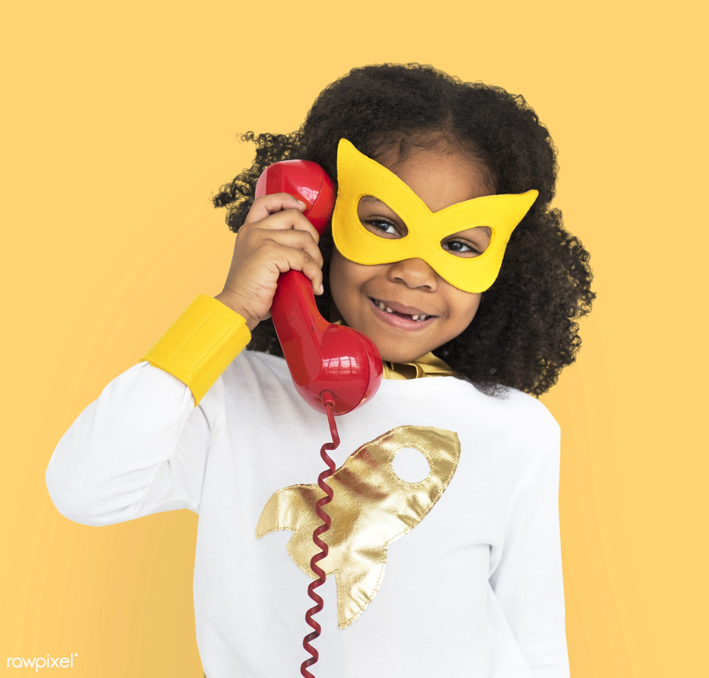 cheerful, african descent, alone, black, calling, child, costume, isolated, kid, landline, mask, one, telephone, young,...