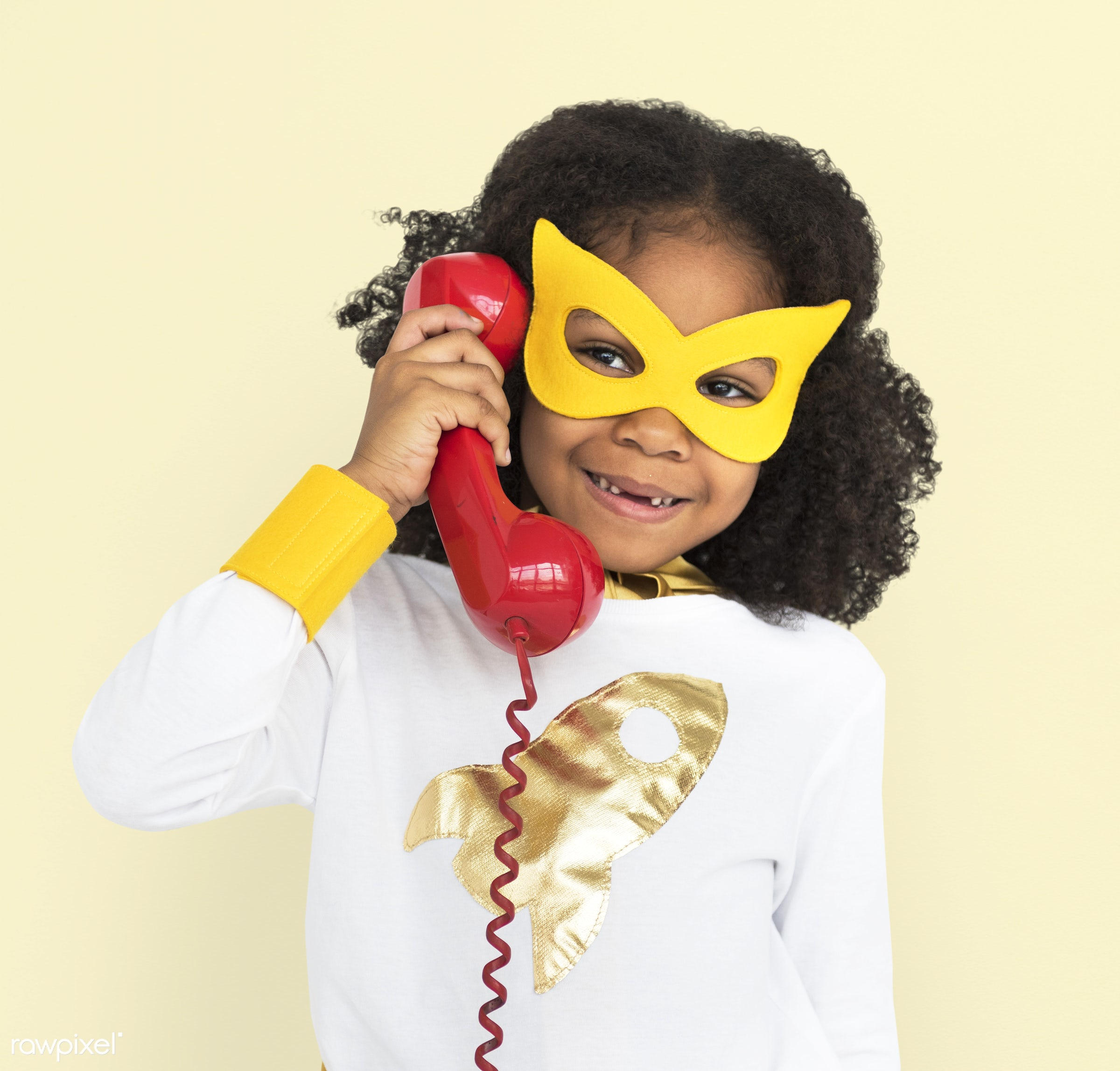 cheerful, superhero, african descent, alone, black, calling, child, costume, isolated, kid, landline, mask, one, telephone,...