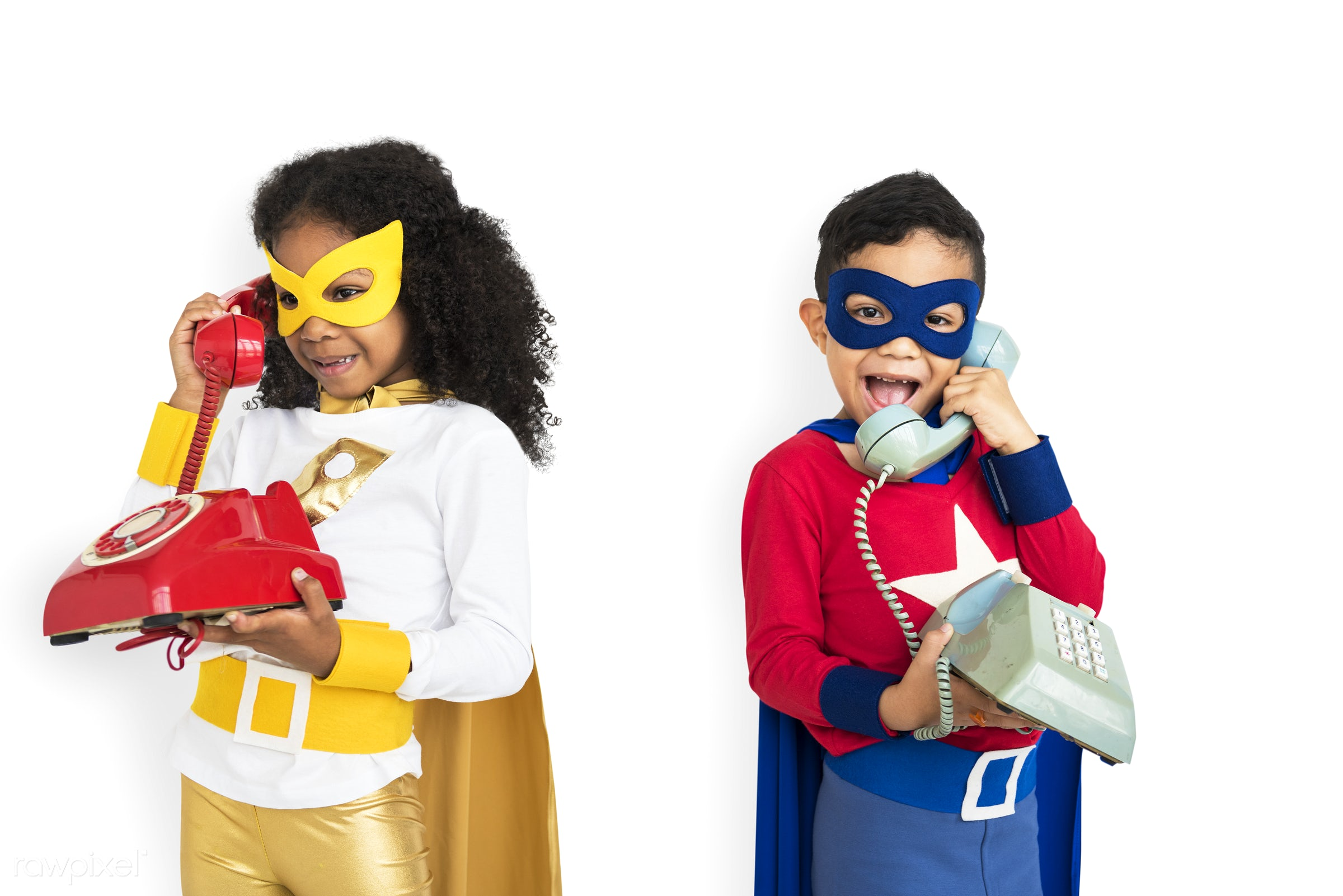 african descent, alone, black, cheerful, costume, isolated, kid, landline, one, studio, superhero, telephone, young, youth