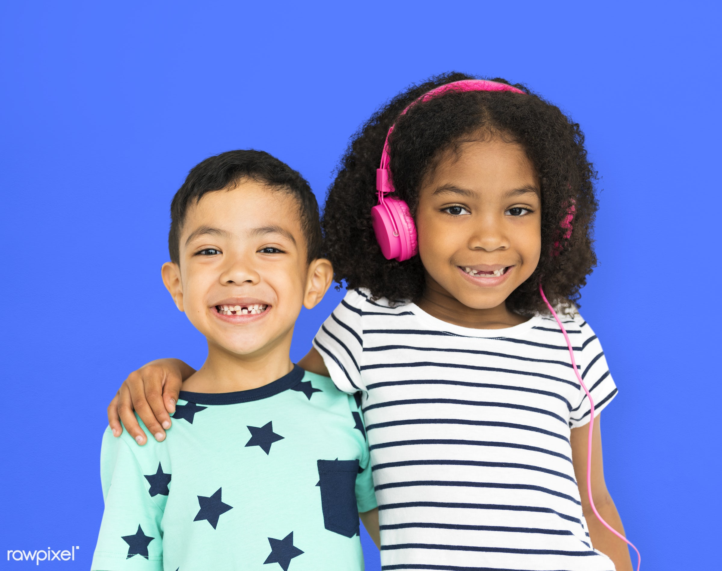 headphones, music, entertainment, listen, hobby, cheerful, child, children, diversity, friends, friendship, group, isolated...