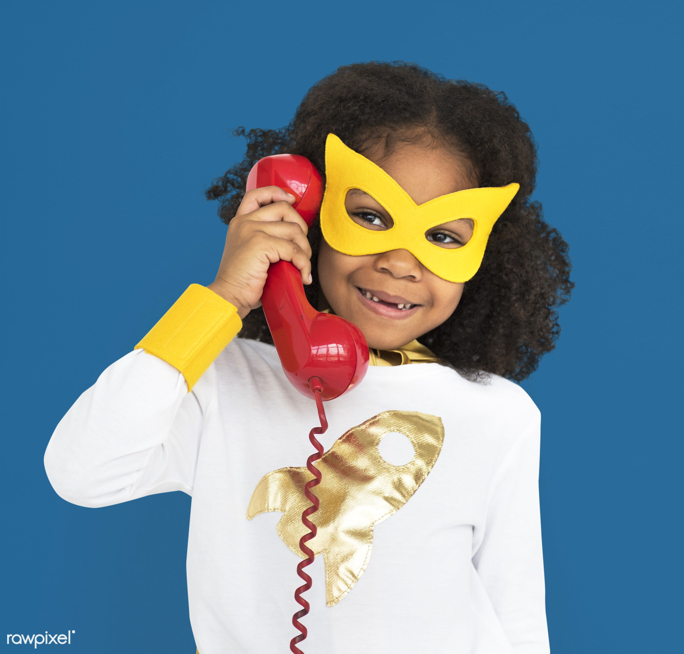 telephone, landline, retro, classic, vintage, african descent, alone, black, cheerful, child, children, costume, girl,...