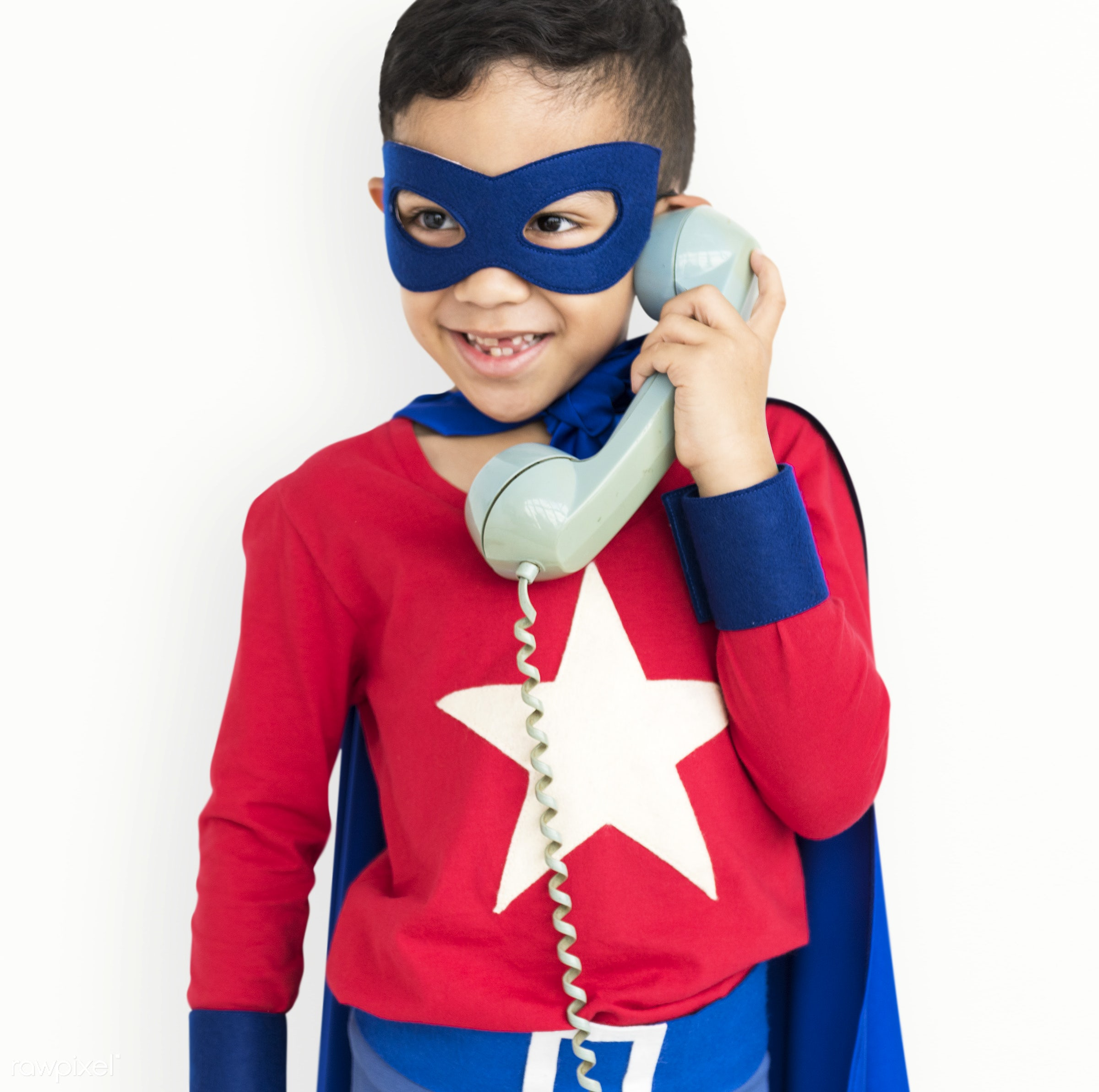 expression, studio, super hero, person, phone, isolated on white, little, children, calling, cute, people, kid, child, happy...