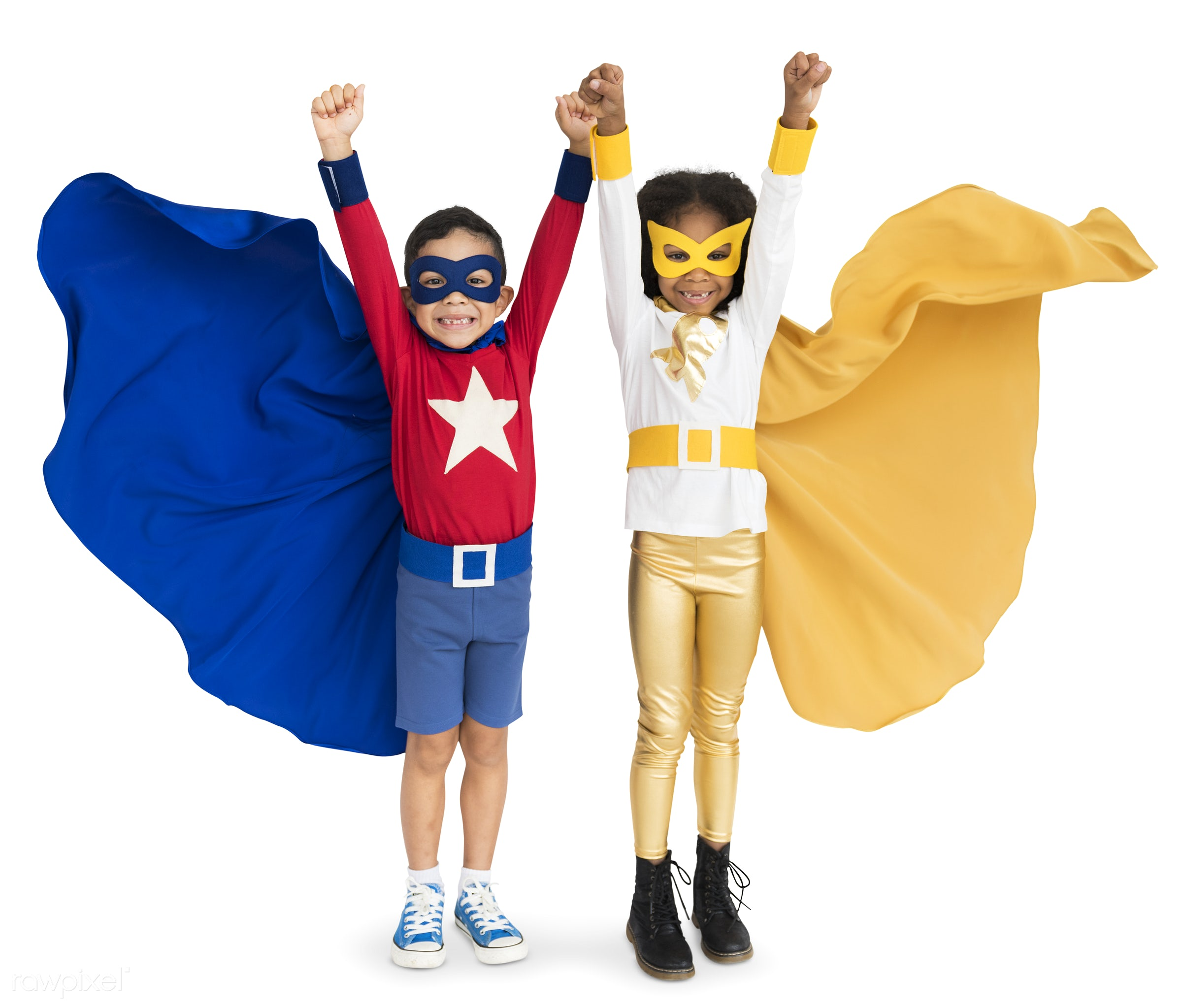 expression, cape, isolated on white, children, cute, child, flying, friends, cheerful, diversity, background, adorable, boy