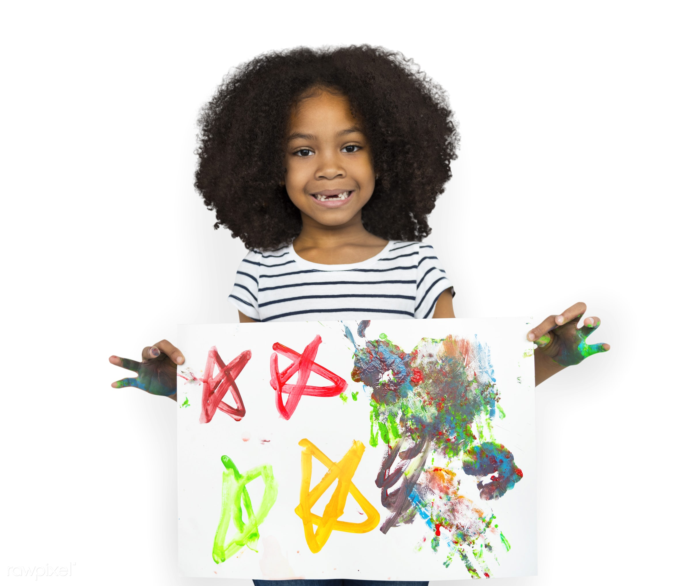 expression, studio, person, isolated on white, little, cute, painted hands, people, drawing, draw, child, girl, happy,...