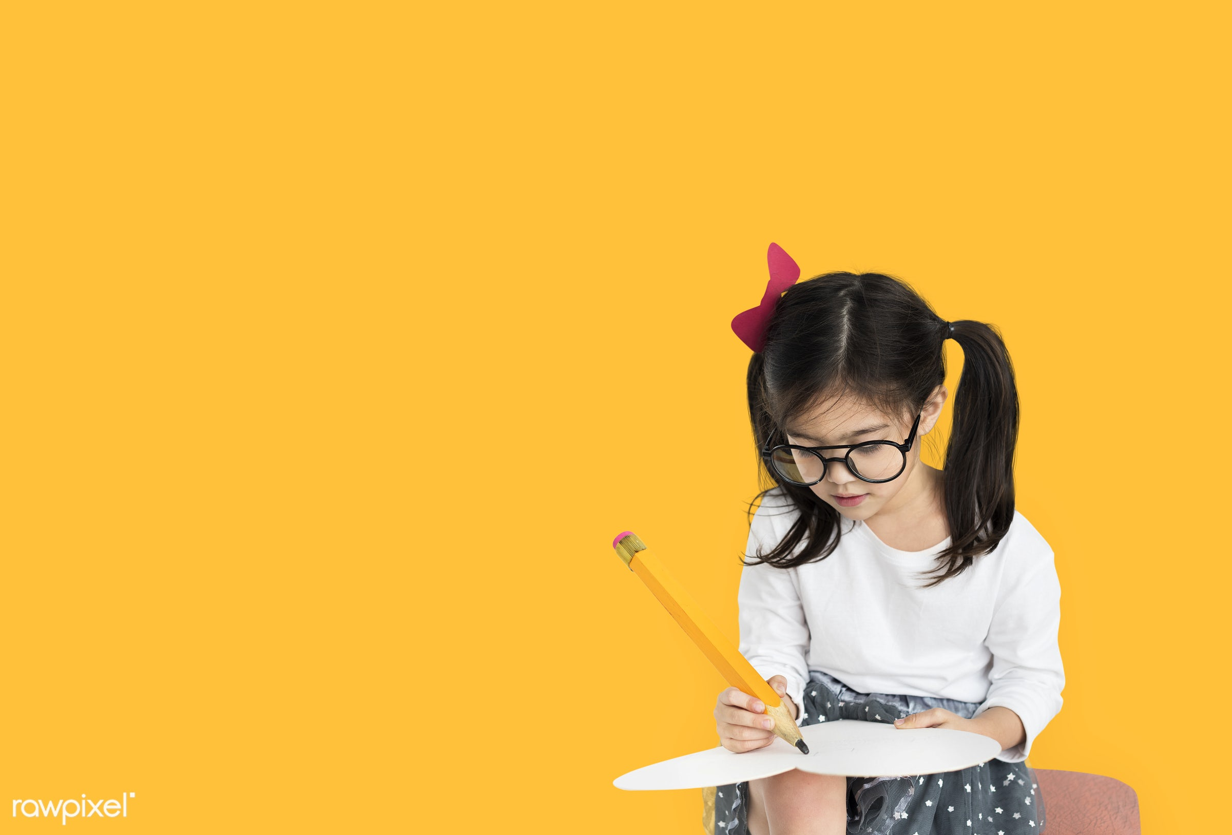 studio, person, knowledge, glasses, innocent, writing, little, yellow, education, people, kid, child, girl, curious, solo,...