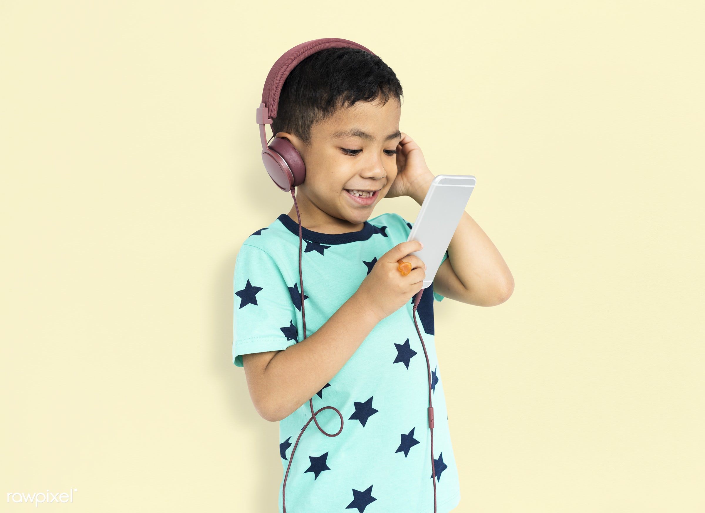 studio, expression, using, person, technology, little, people, kid, childhood, smart phone, cheerful, smiling, isolated,...