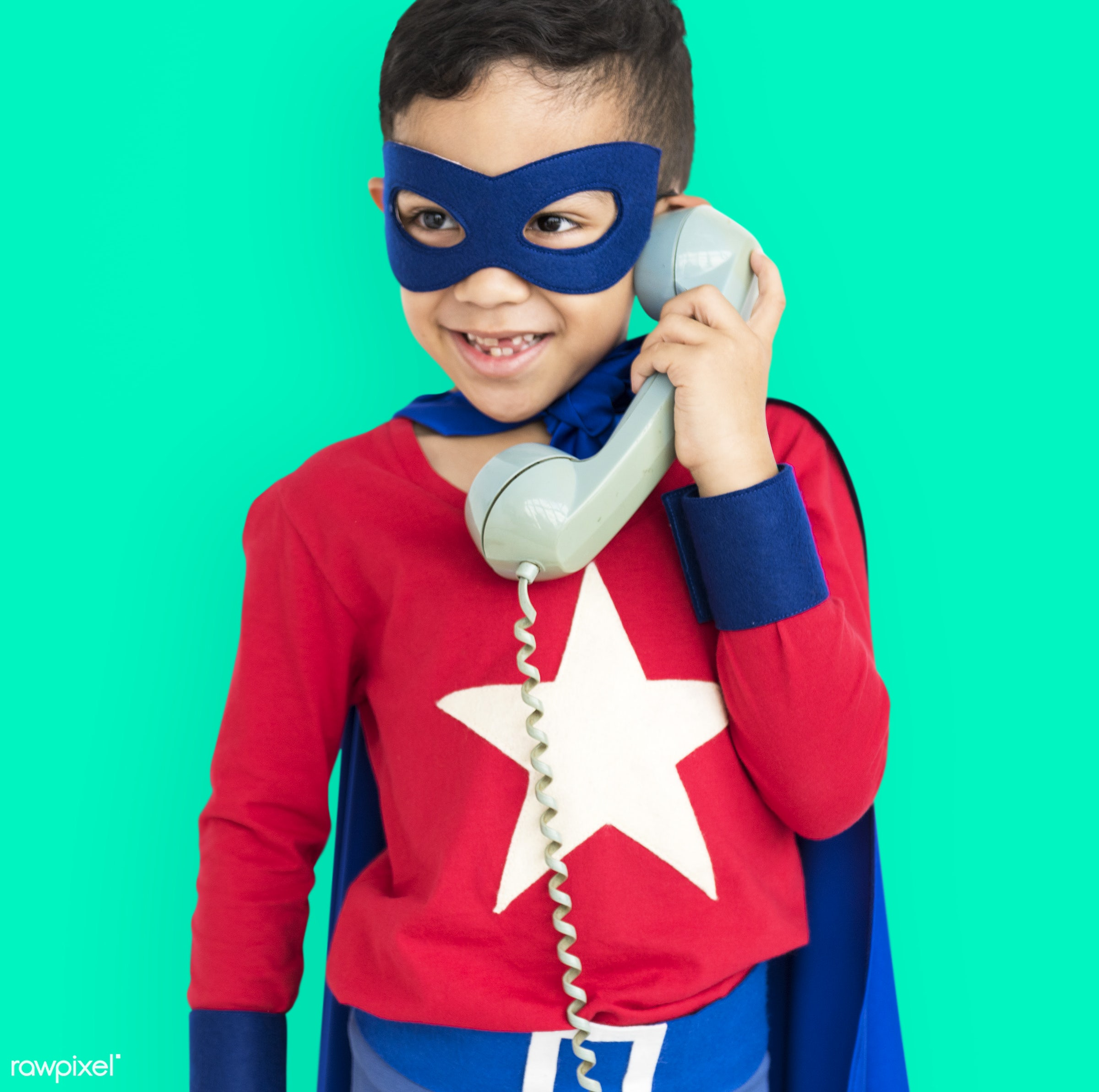 studio, expression, super hero, phone, person, isolated on white, children, little, calling, cute, people, kid, child, happy...