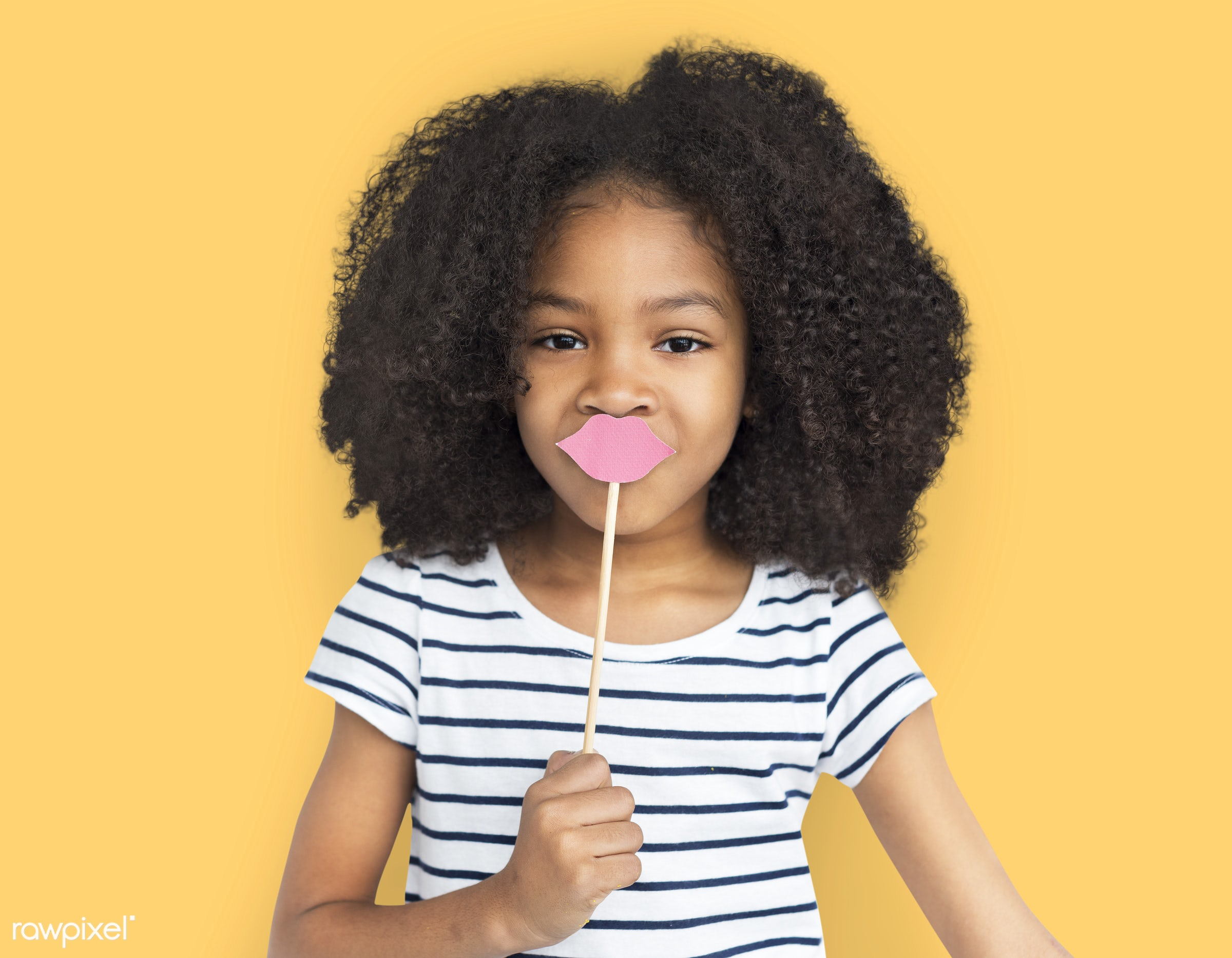 expression, studio, person, little, cute, people, child, girl, happy, casual, cheerful, fake lips, isolated, little girl,...