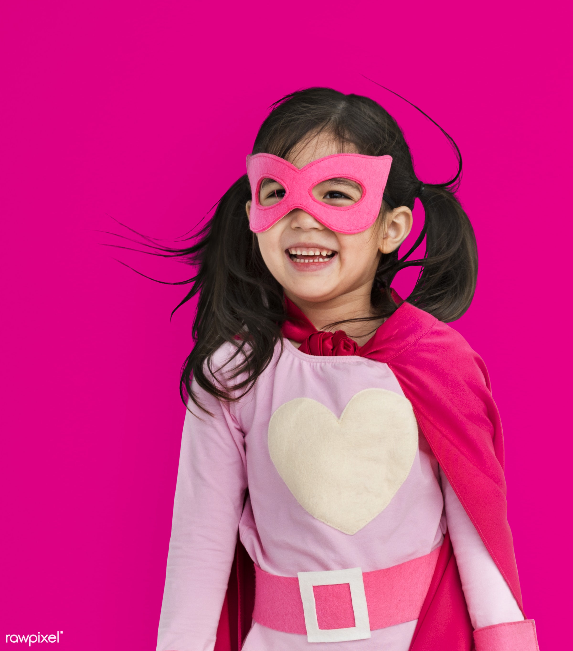 alone, asian, cheerful, child, costume, girl, isolated, kid, one, playful, smiling, studio, superhero, young, youth