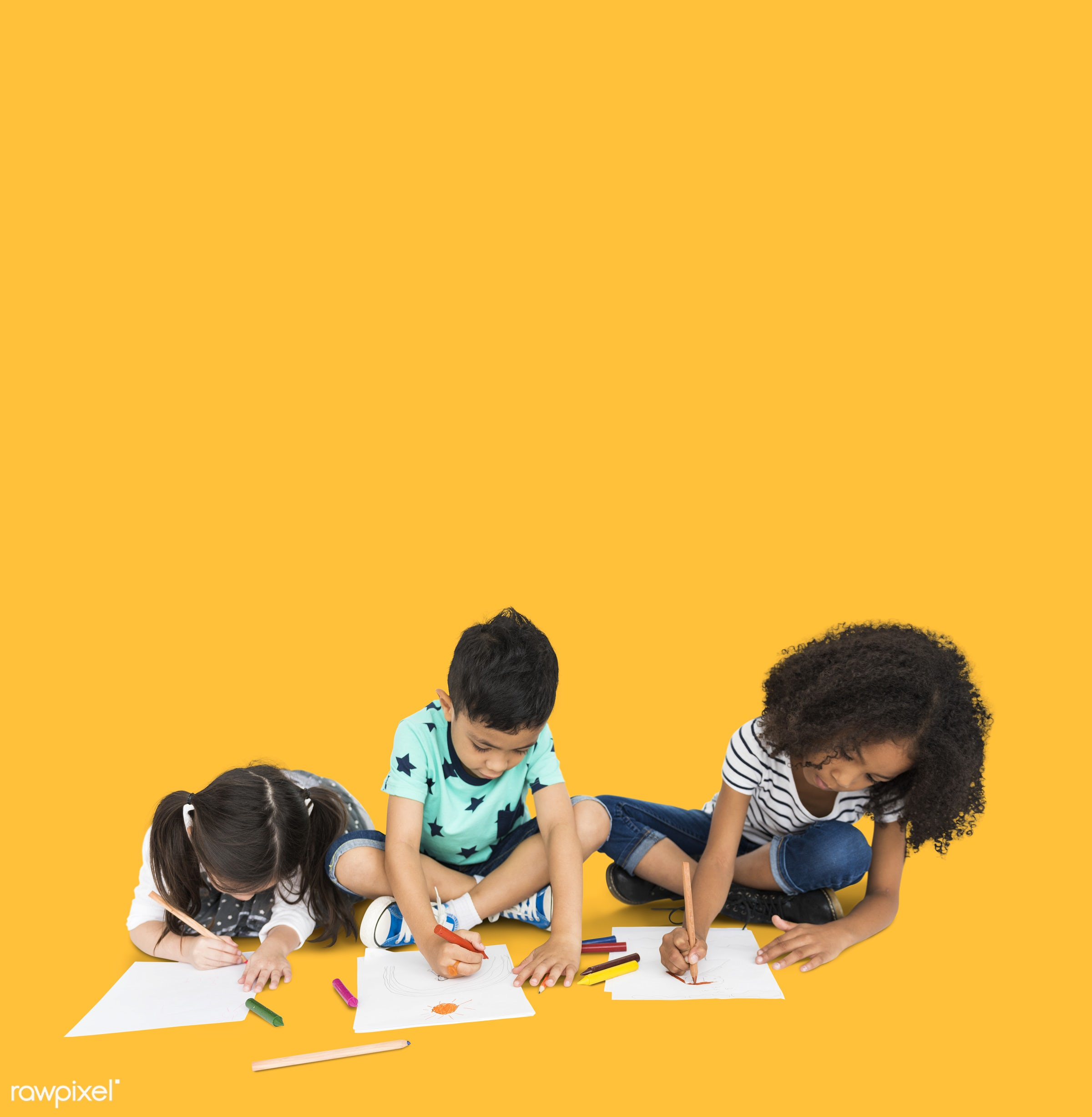 expression, studio, person, diverse, children, little, yellow, creativity, people, together, drawing, draw, pose, friends,...
