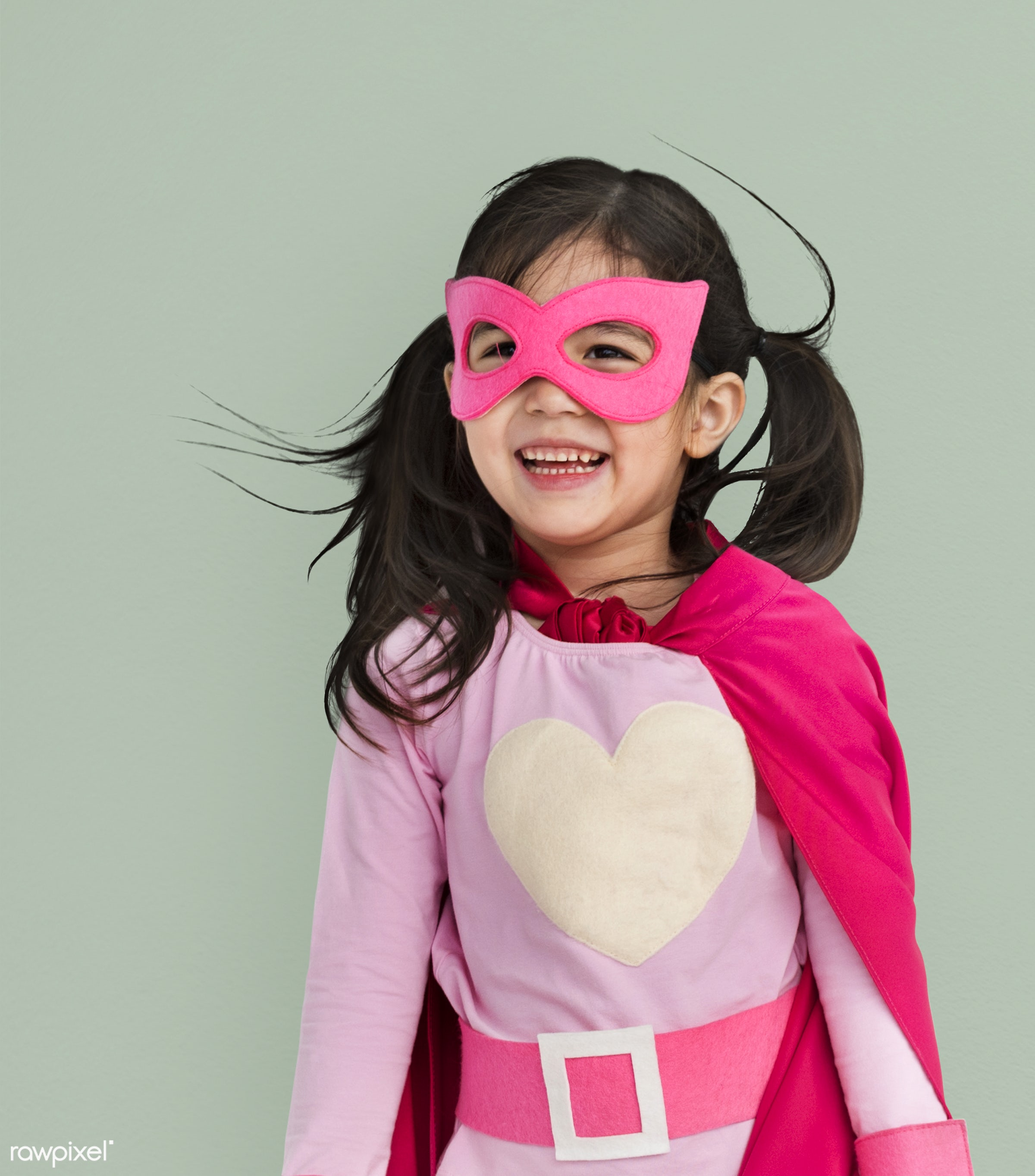 alone, cheerful, child, costume, girl, isolated, kid, mask, one, playful, smiling, superhero, young, youth