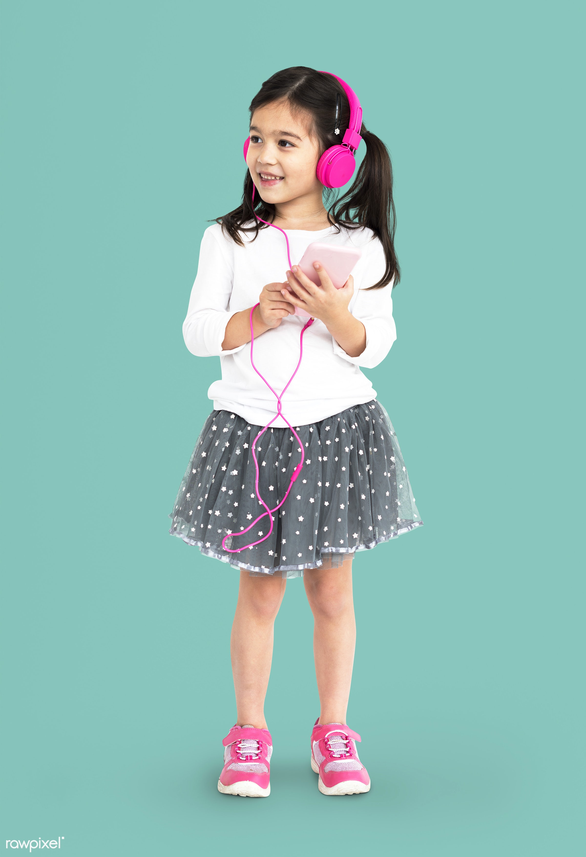 studio, expression, using, person, technology, full length, little, people, kid, childhood, smart phone, cheerful, smiling,...