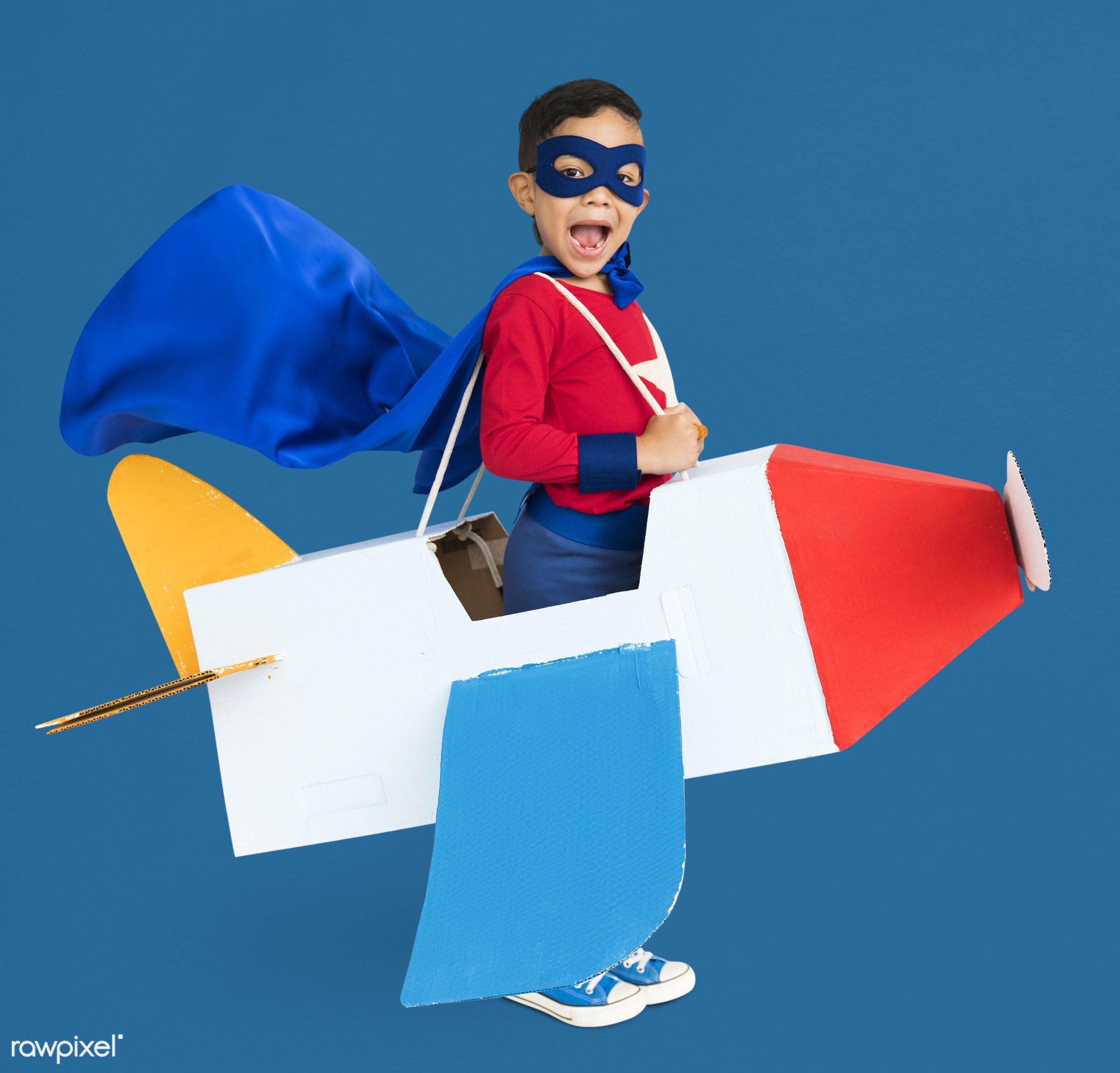 studio, expression, person, cape, joy, mask, little, cute, people, kid, toy, smile, cheerful, smiling, superhero, isolated,...