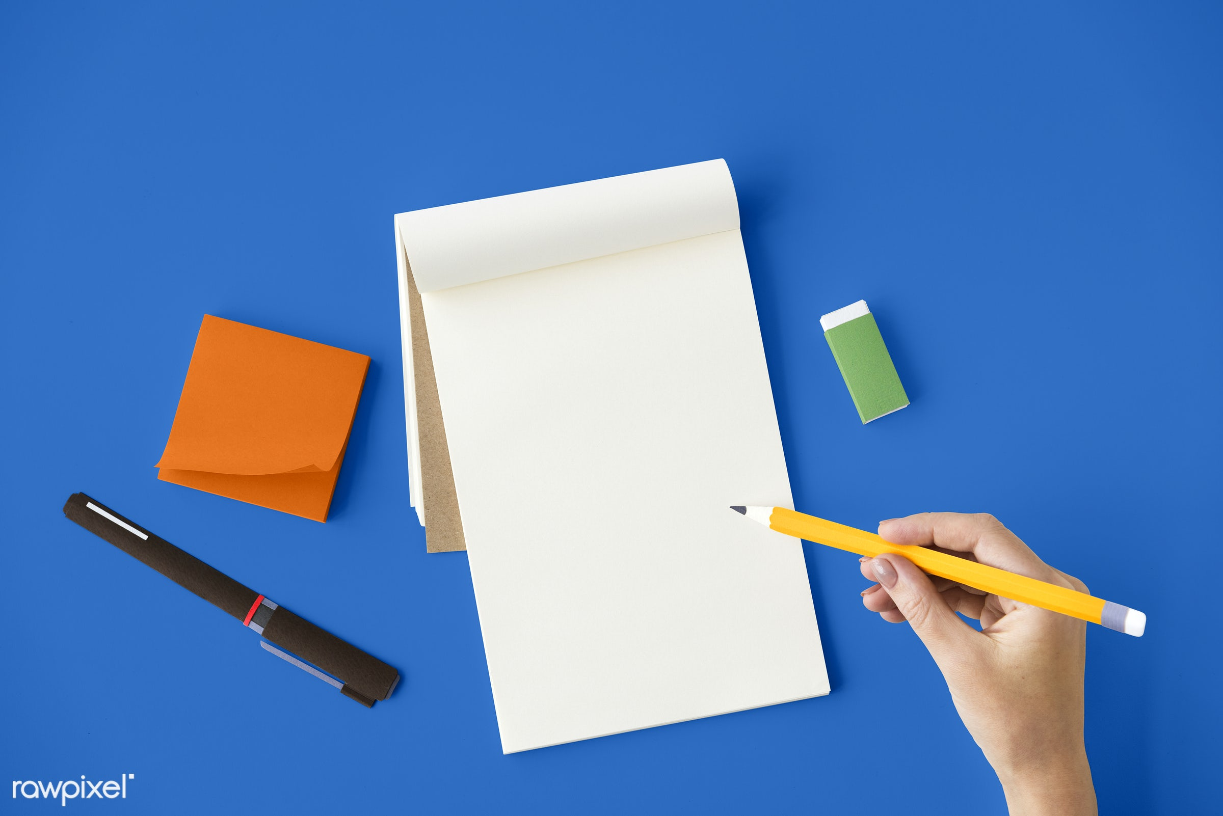 stationery, notepad, pencil, aerial view, blank, blue table, copy space, design space, empty, eraser, hand, notebook,...