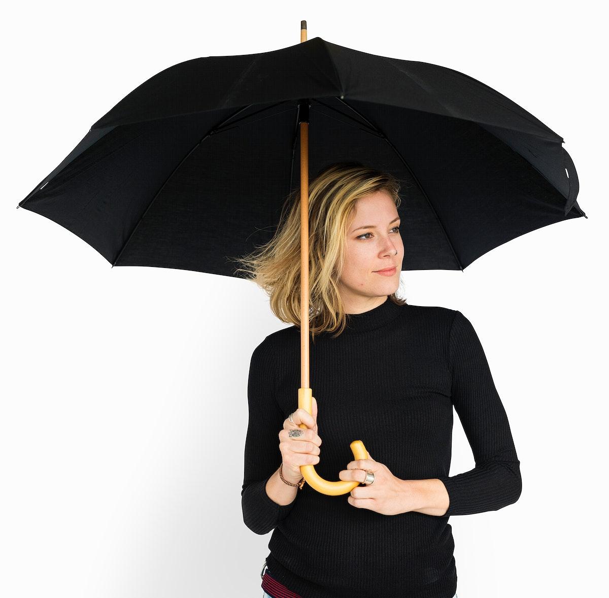 Woman Smiling Happiness Umbrella Portrait Concept