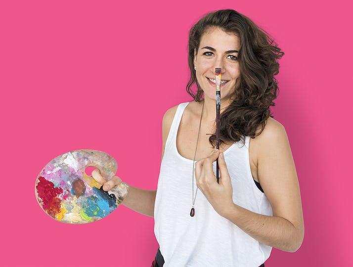 Woman Smiling Happiness Color Palette Portrait Concept