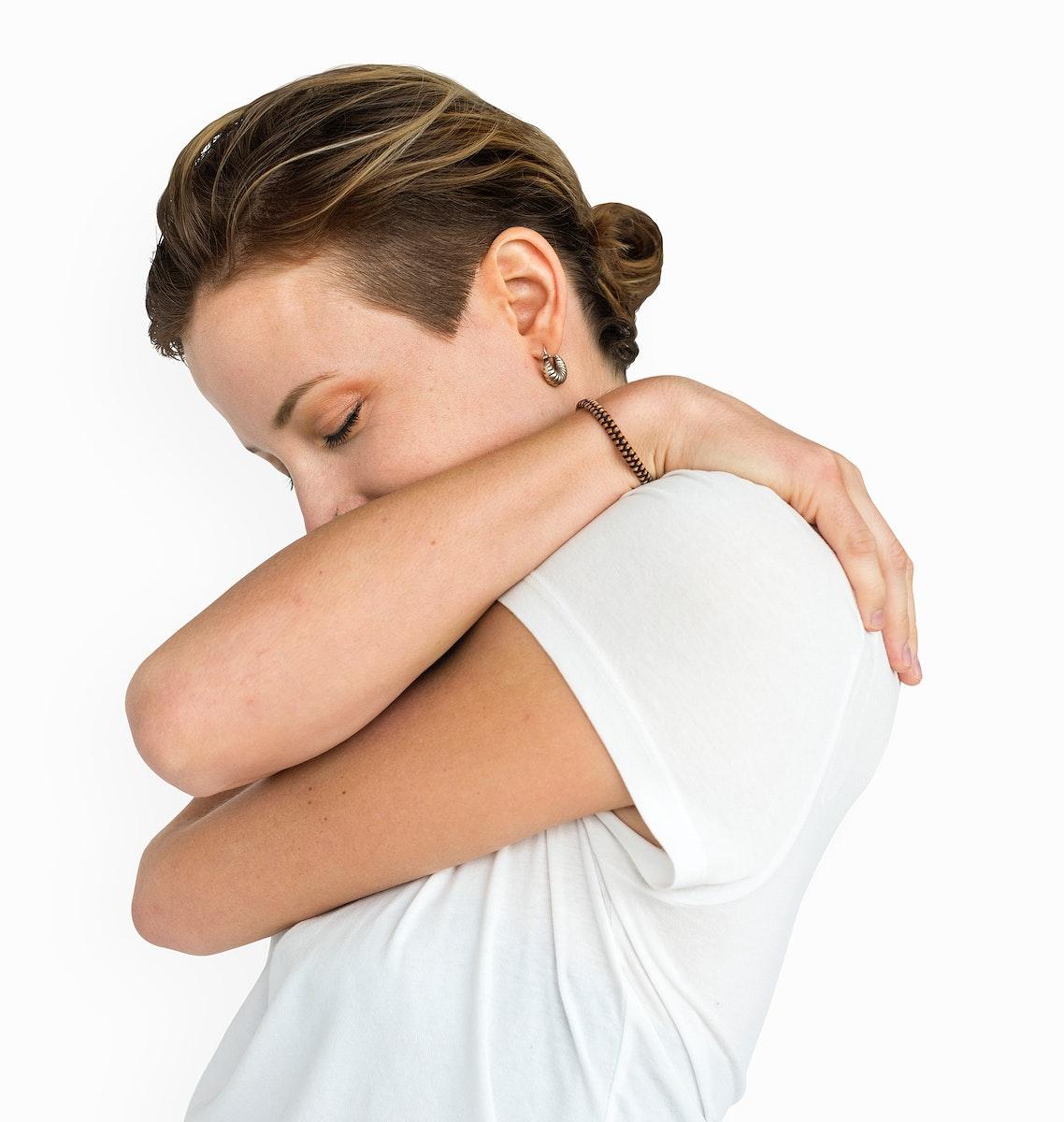 Caucasian Lady Lonely Hug Concept