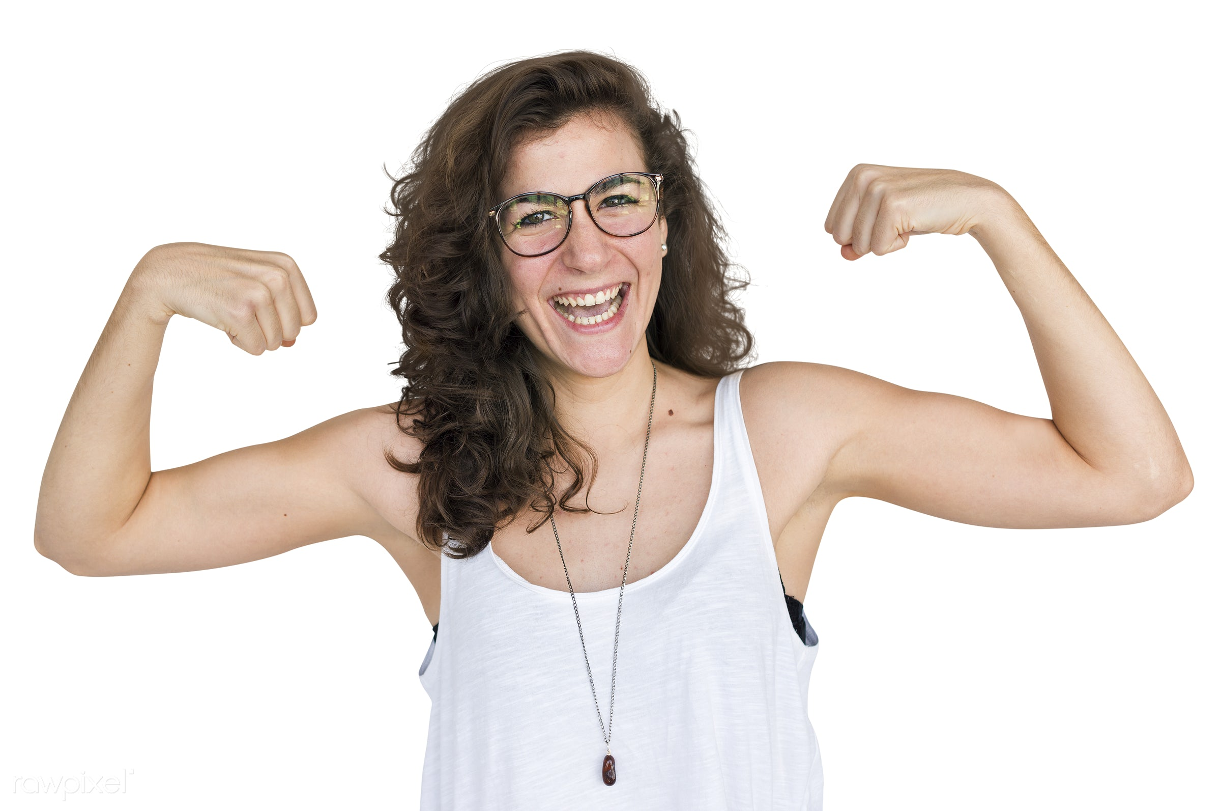 Happy woman showing off her muscles - face, adult, background, cheerful, emotion, expression, female, girl, happiness, happy...