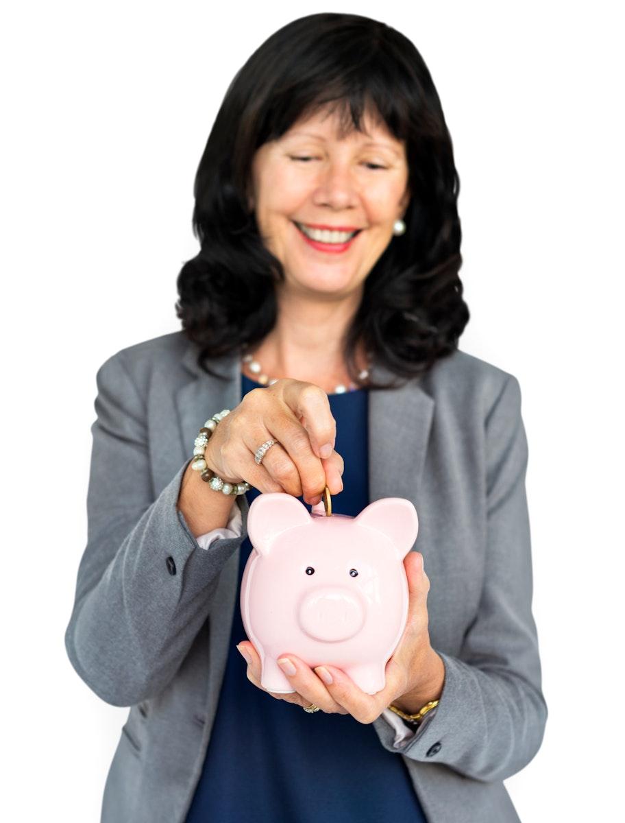 Businesswoman Smiling Happiness Piggy Bank Savings
