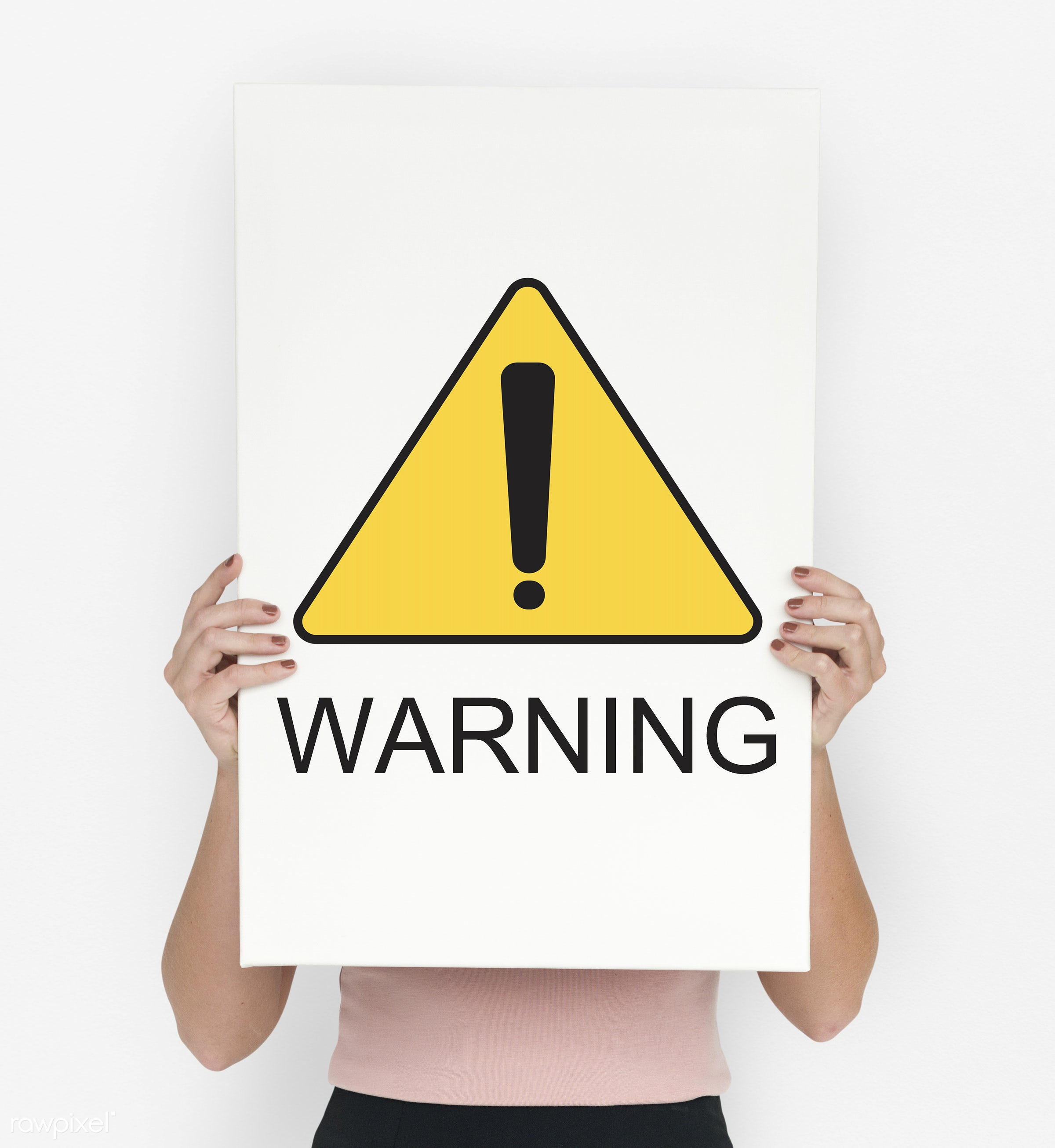Warning Sign Caution Icon Word - studio, expression, person, show, yellow, people, placard, danger, solo, button, woman,...