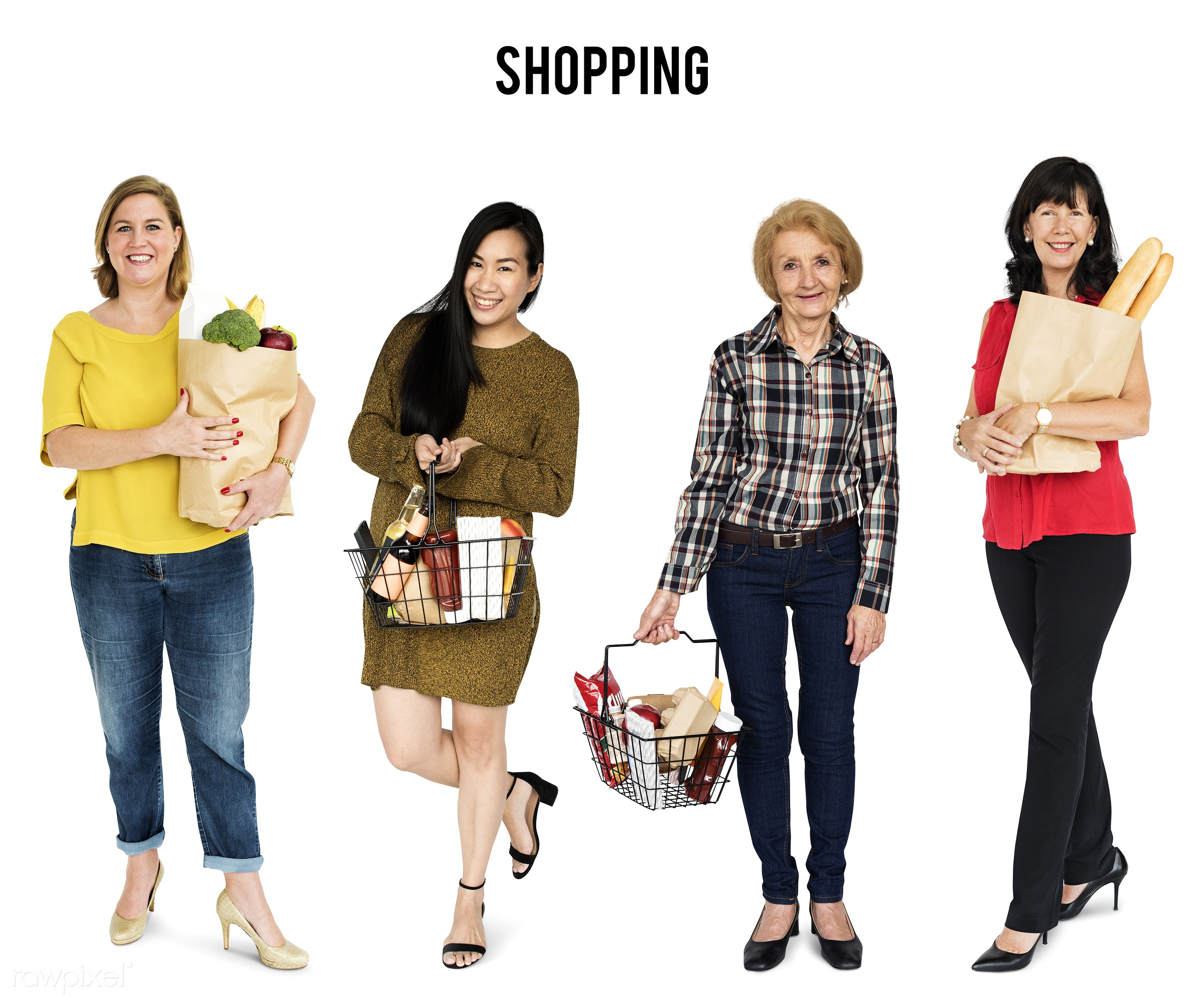 studio, grocery, shop, person, store, diverse, buy, fresh food, consumer, people, caucasian, asian, retirement, grocery...