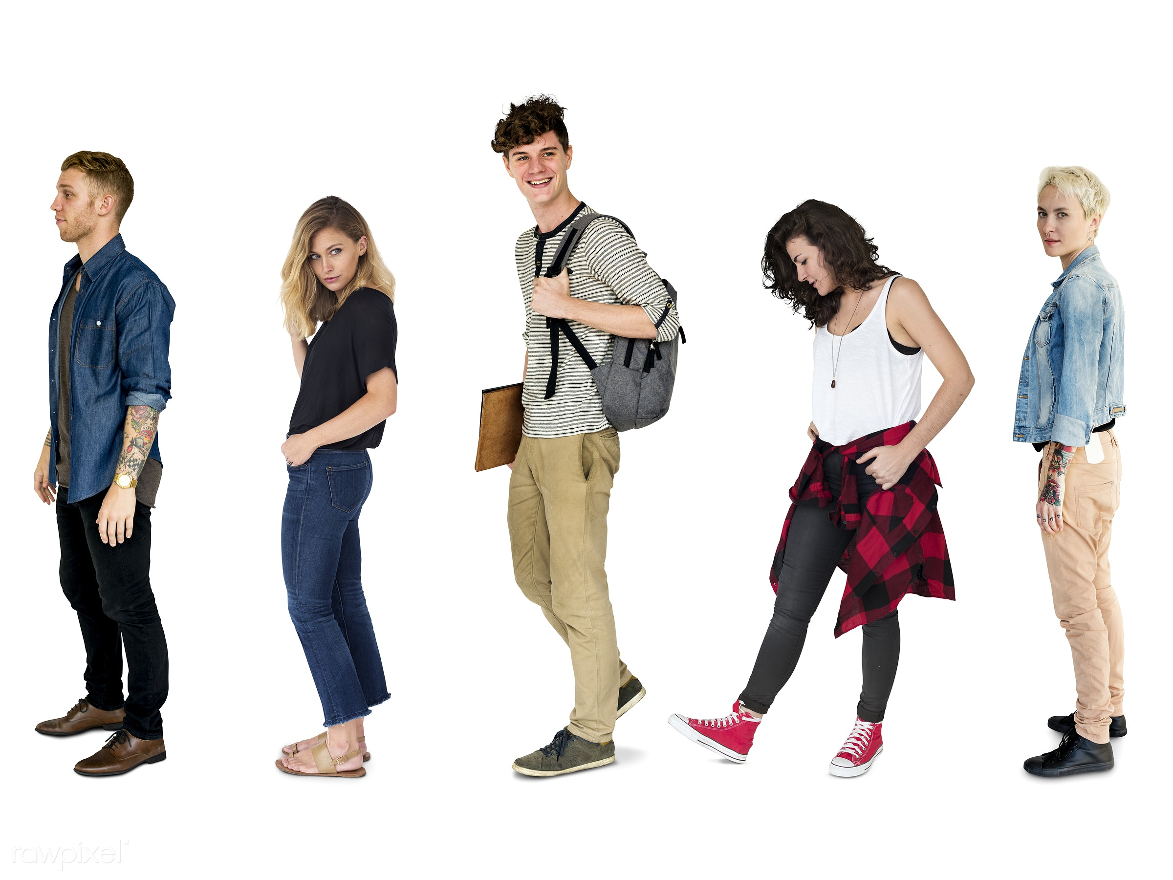 Diverse people set - studio, person, unique, diverse, set, personality, people, attraction, caucasian, life, young adult,...