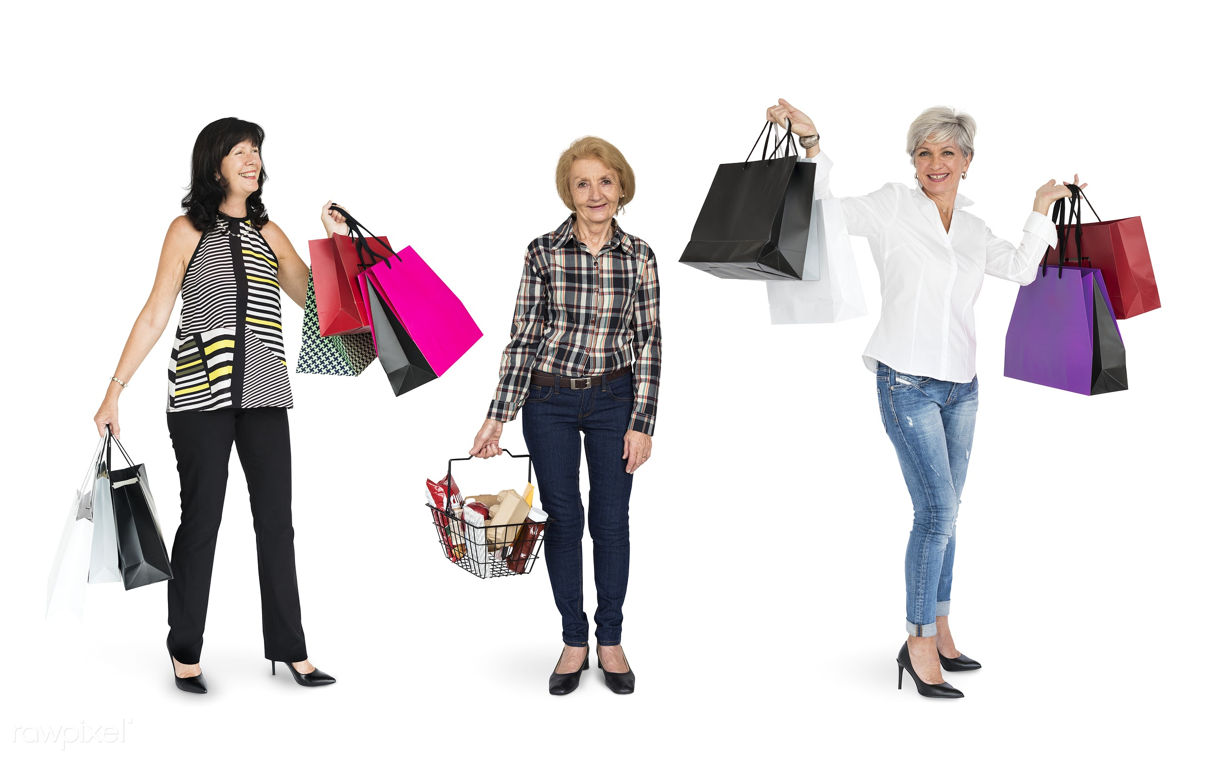 Diverse people set - grocery, expression, studio, face, shop, person, buy, people, life, style, woman, lifestyle, mixed,...