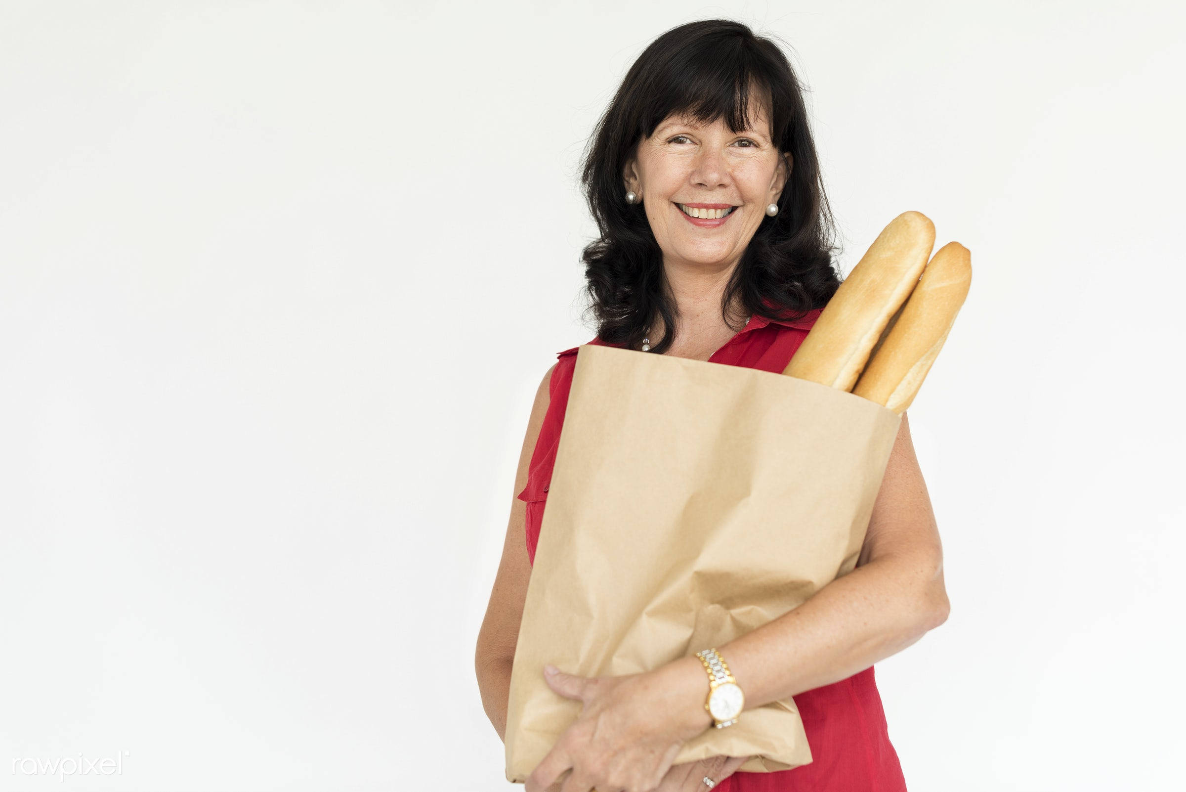 studio, expression, grocery, person, people, caucasian, woman, bread, smile, cheerful, smiling, baguette, isolated,...