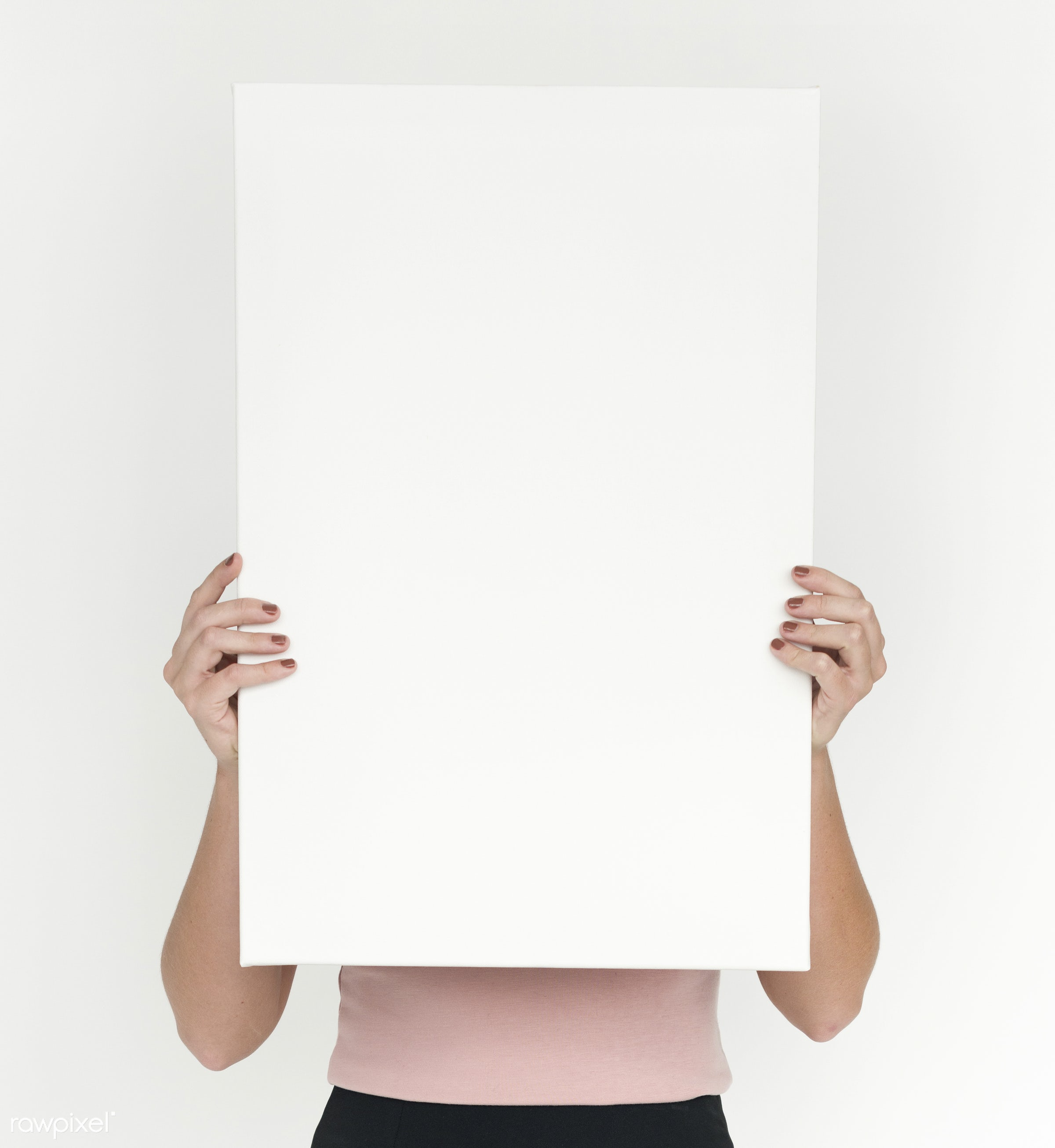 studio, person, copy space, holding, isolated on white, cute, pretty, people, placard, girl, woman, casual, banner, isolated...