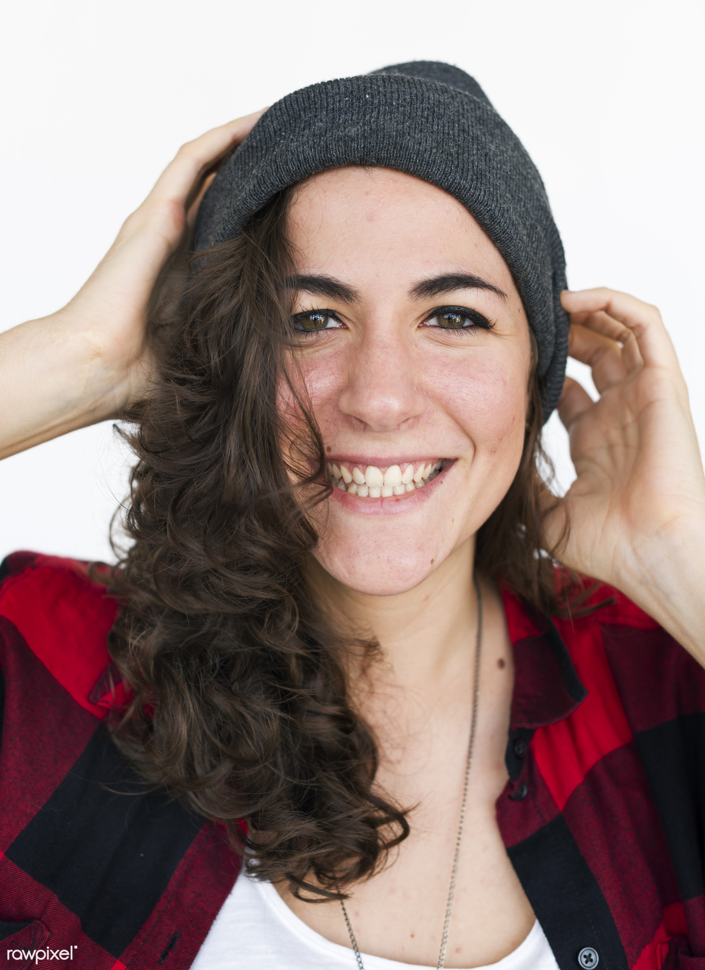 studio, expression, person, beanie, people, woman, smile, cheerful, smiling, isolated, white, happiness, portrait, emotion,...