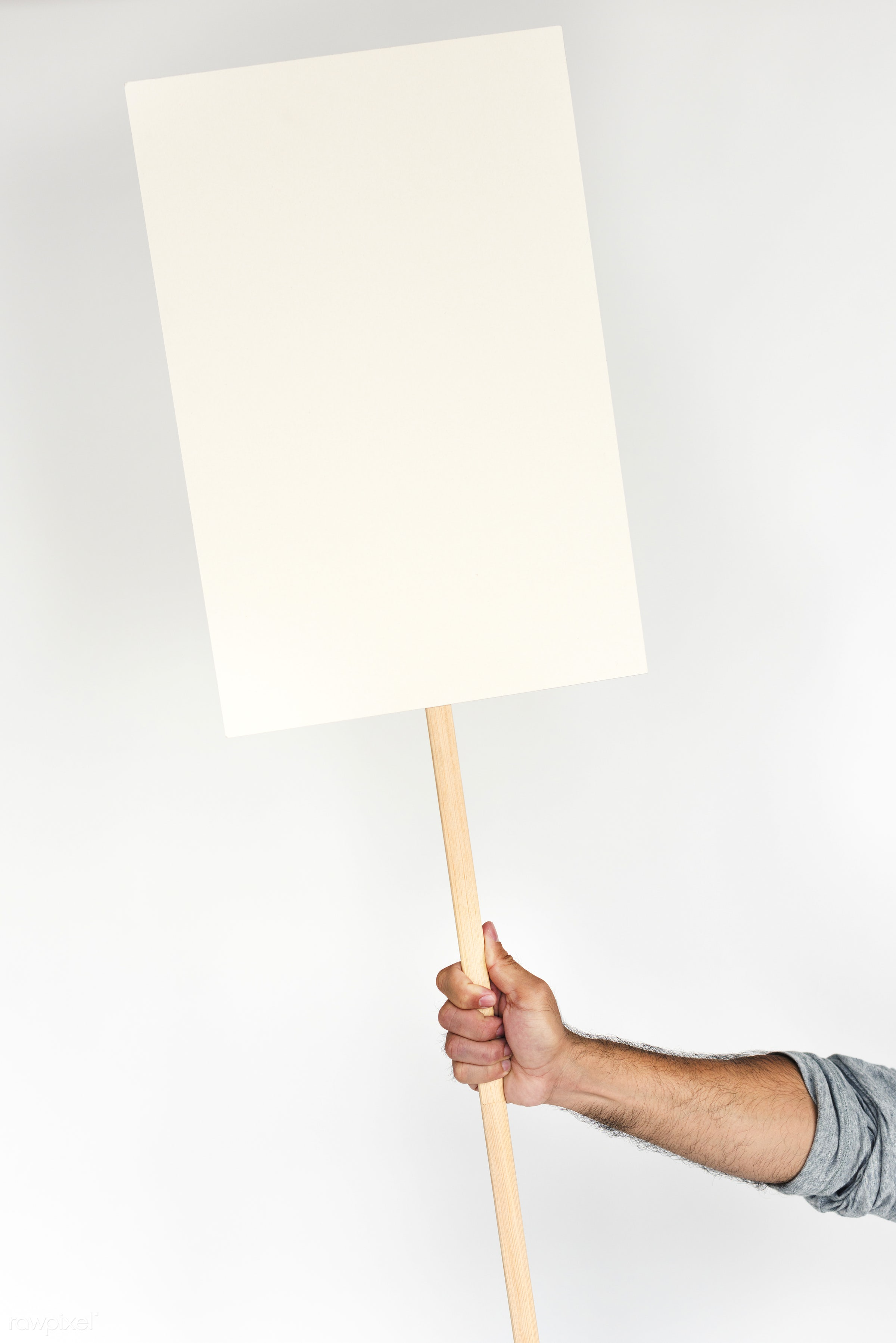 studio, expression, person, copy space, holding, isolated on white, protest, protester, people, placard, hand, five fingers...
