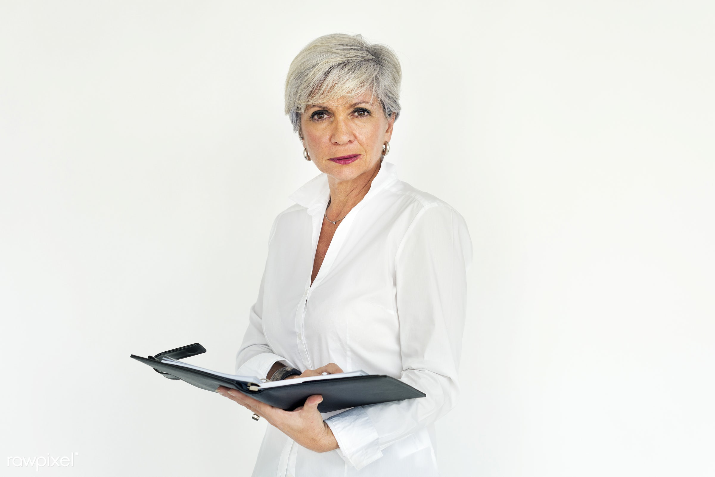studio, expression, person, technology, people, woman, laptop, working, isolated, connection, white, businesswoman, portrait...