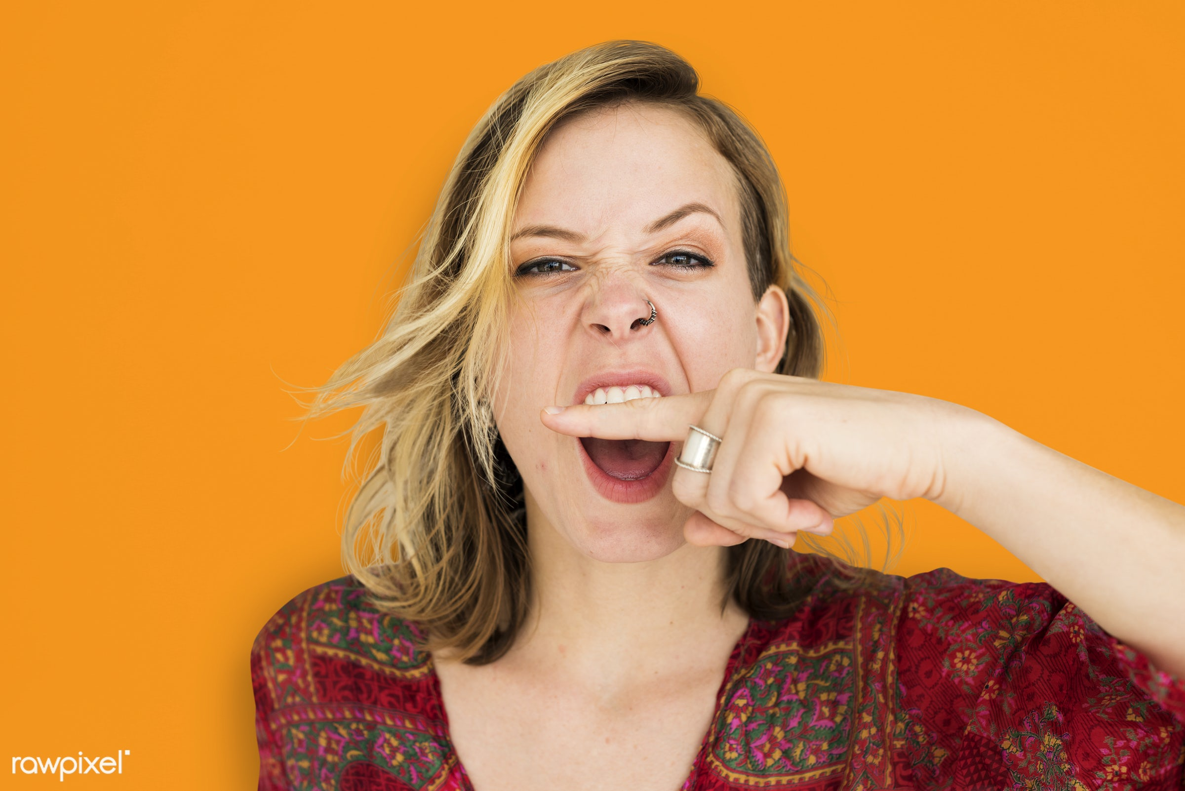 studio, expression, person, angry, people, finger on lips, woman, shh, orange, isolated, scream, quiet, portrait, emotion,...