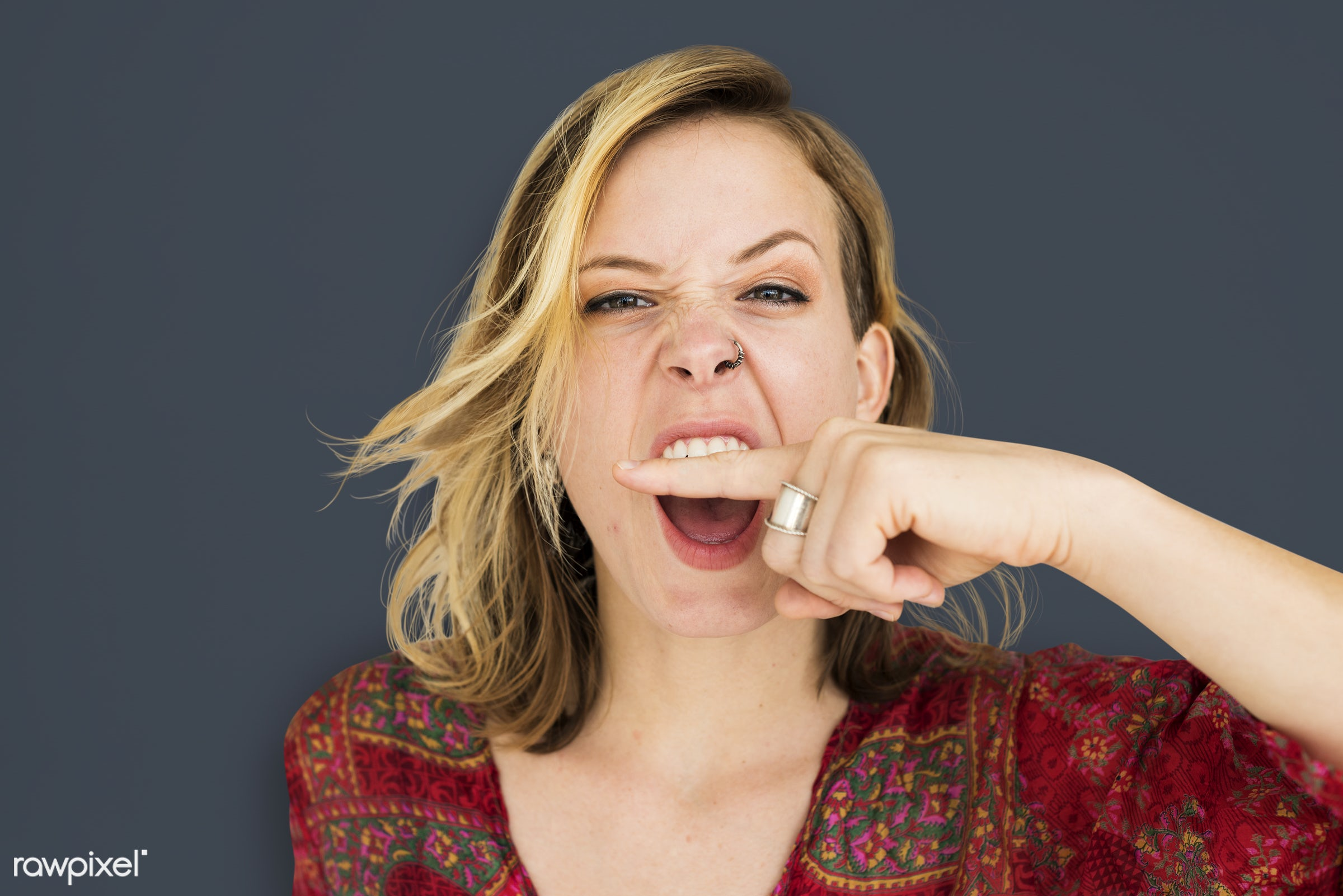 studio, expression, person, angry, people, finger on lips, woman, shh, isolated, scream, quiet, portrait, emotion, charming...