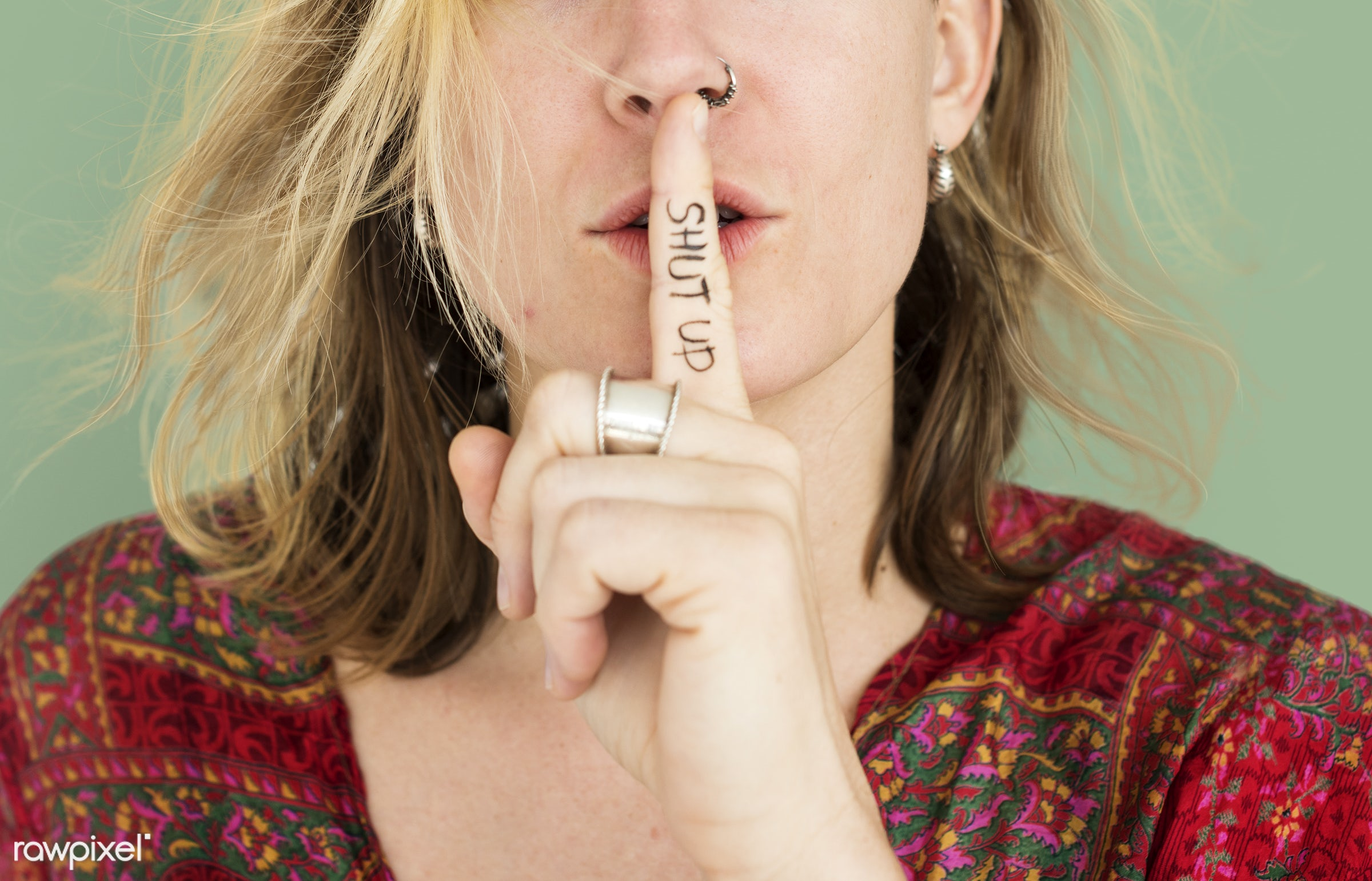 studio, expression, face, person, beauty, shut up, cute, pretty, people, finger on lips, girl, woman, casual, shh, isolated...