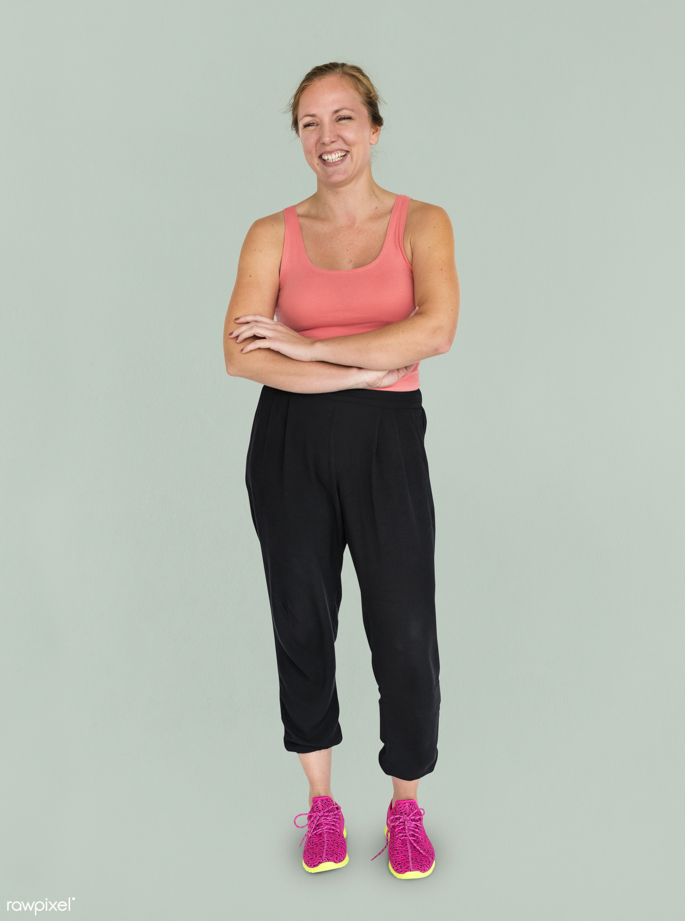 studio, expression, person, model, full length, exercise, race, people, style, woman, lifestyle, casual, smiling, isolated,...