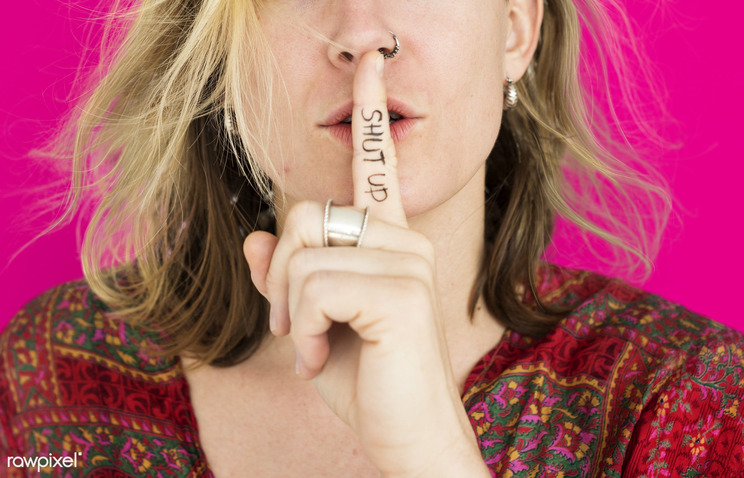 studio, expression, face, person, beauty, shut up, cute, pretty, people, finger on lips, girl, woman, casual, pink, shh,...