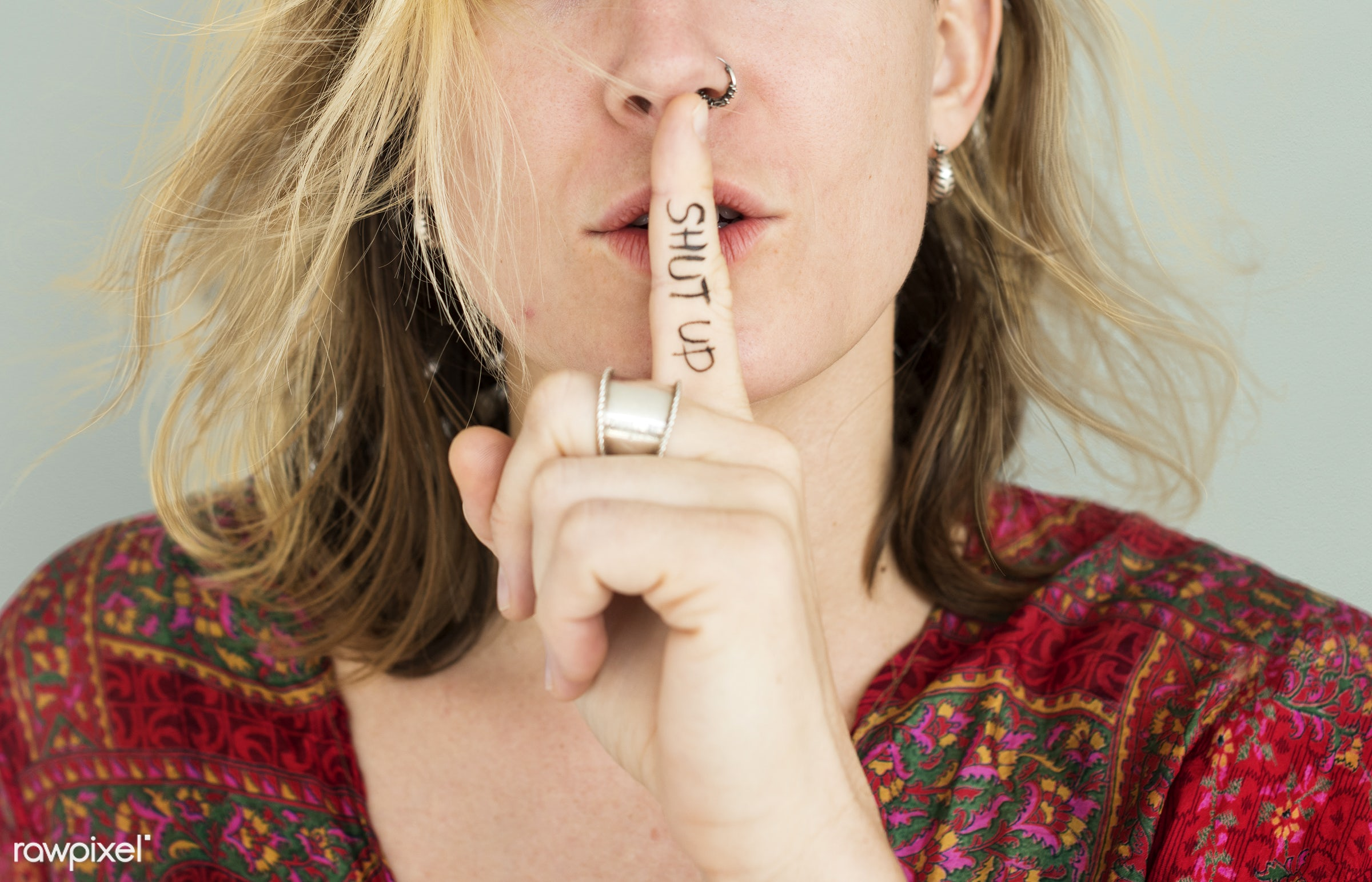 studio, expression, face, person, beauty, shut up, cute, pretty, people, finger on lips, girl, woman, casual, grey, shh,...