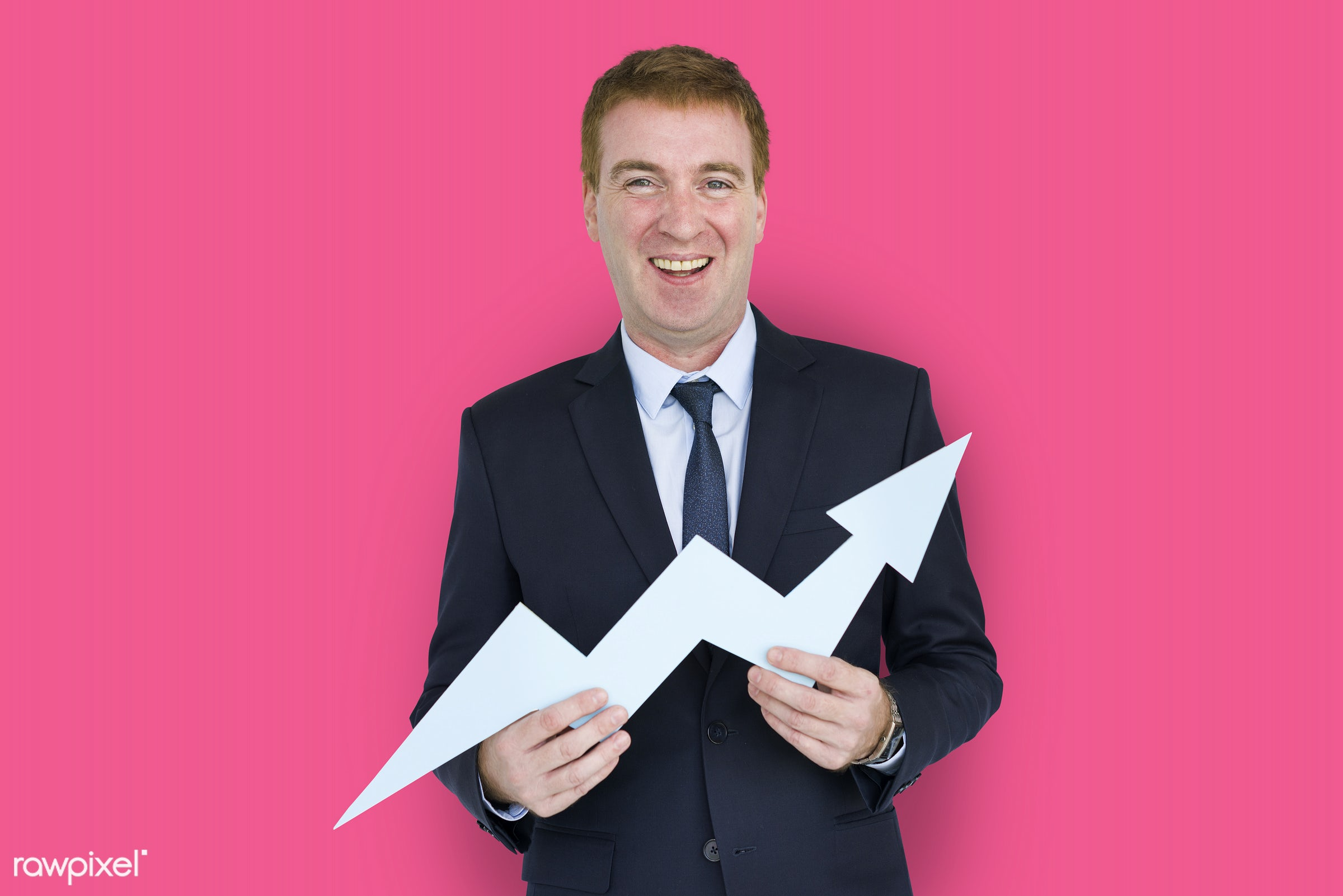 expression, studio, person, business wear, holding, arrow, improve, people, business, caucasian, graph, happy, smile,...