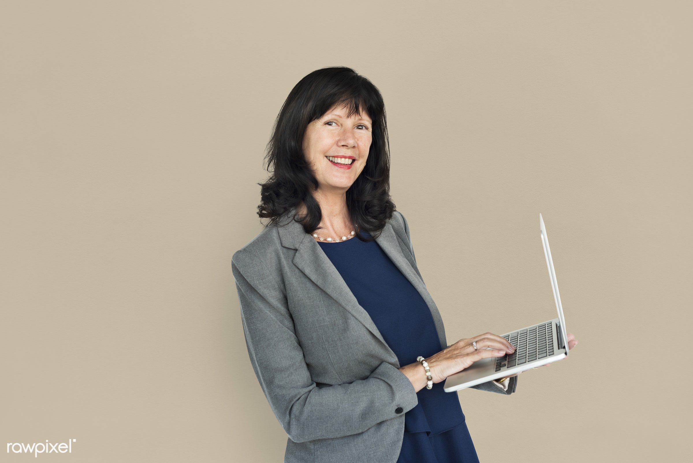 studio, expression, person, business wear, people, business, caucasian, girl, woman, happy, laptop, smile, positive,...