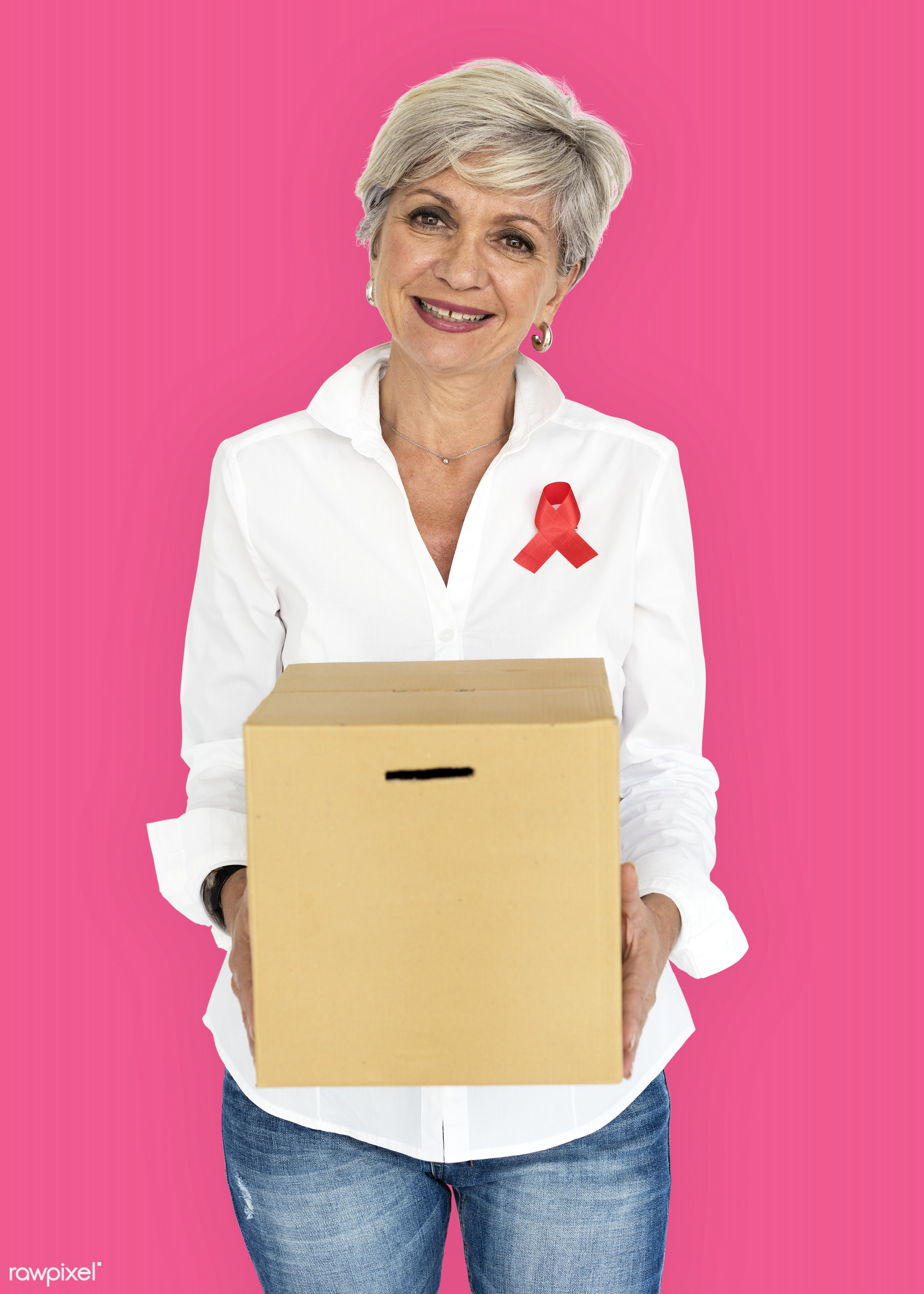 studio, expression, person, holding, red ribbon, charity, people, hiv, solo, woman, ribbon, pink, cheerful, smiling,...